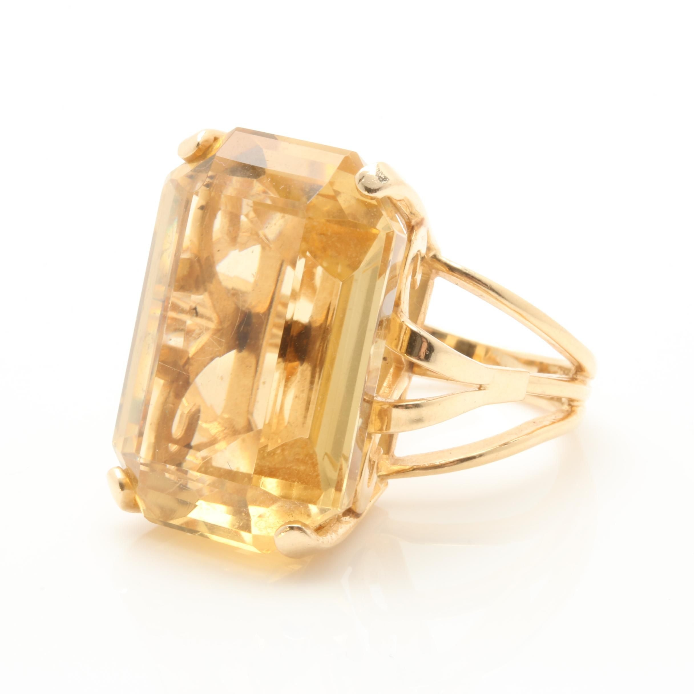 14K Yellow Gold 33.29 CT Citrine Solitaire Ring