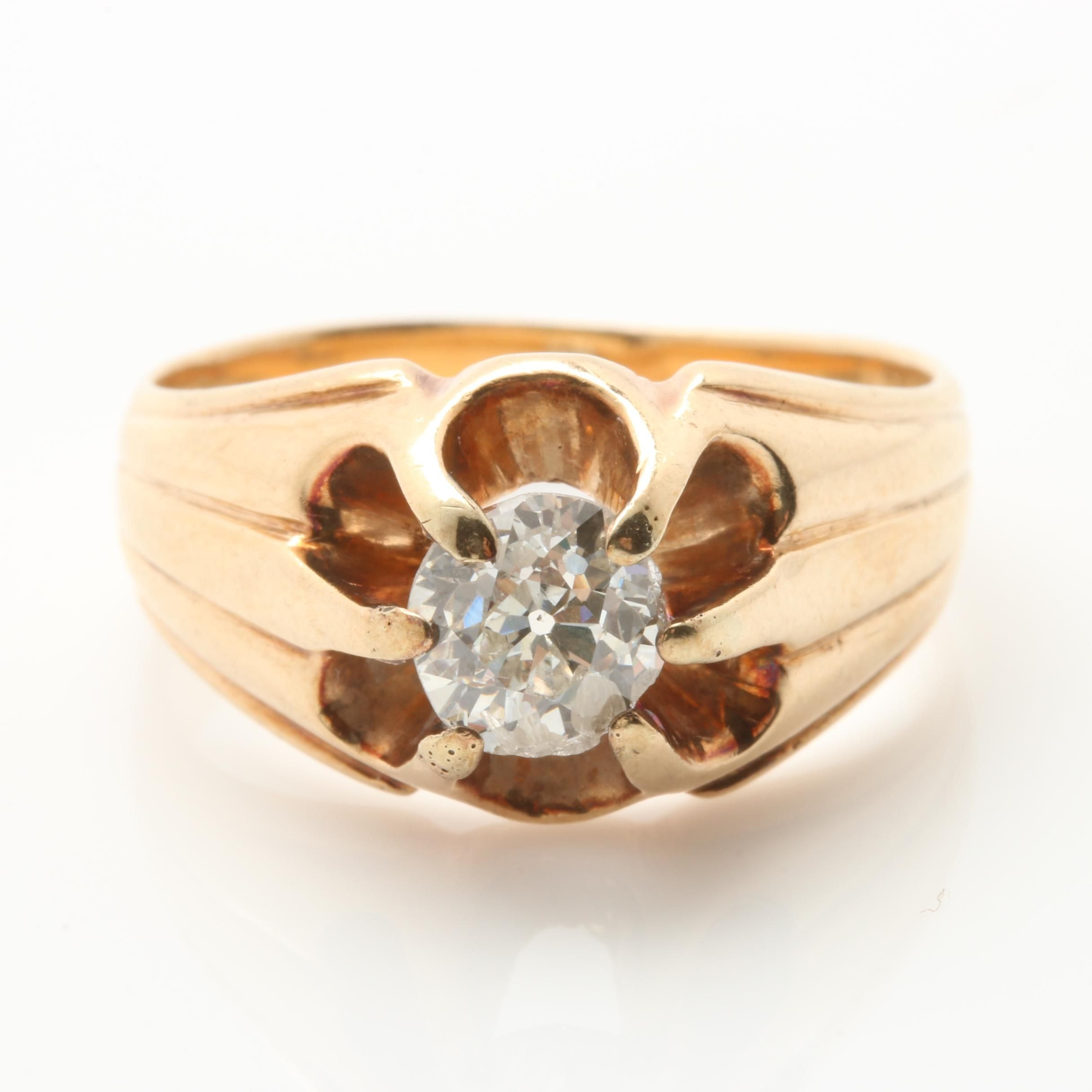 14K Yellow Gold Diamond Solitaire Belcher Ring