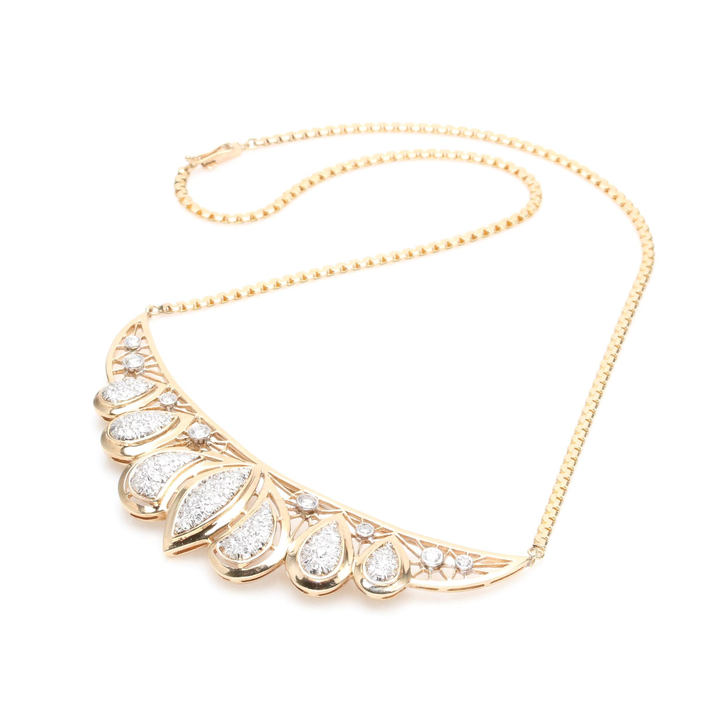 14K Yellow Gold 2.75 CTW Diamond Necklace