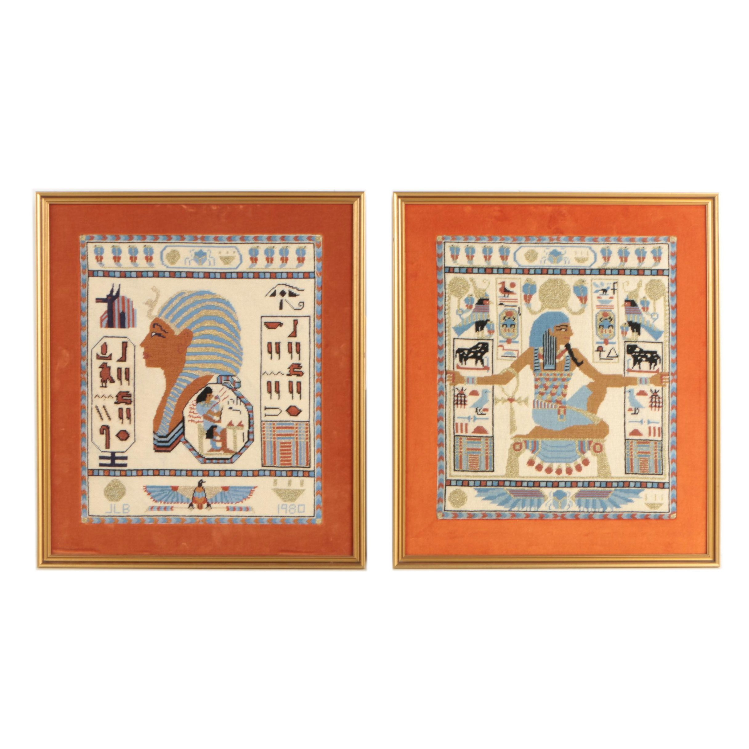 Pair of 1980 Egyptian Themed Cross Stitches