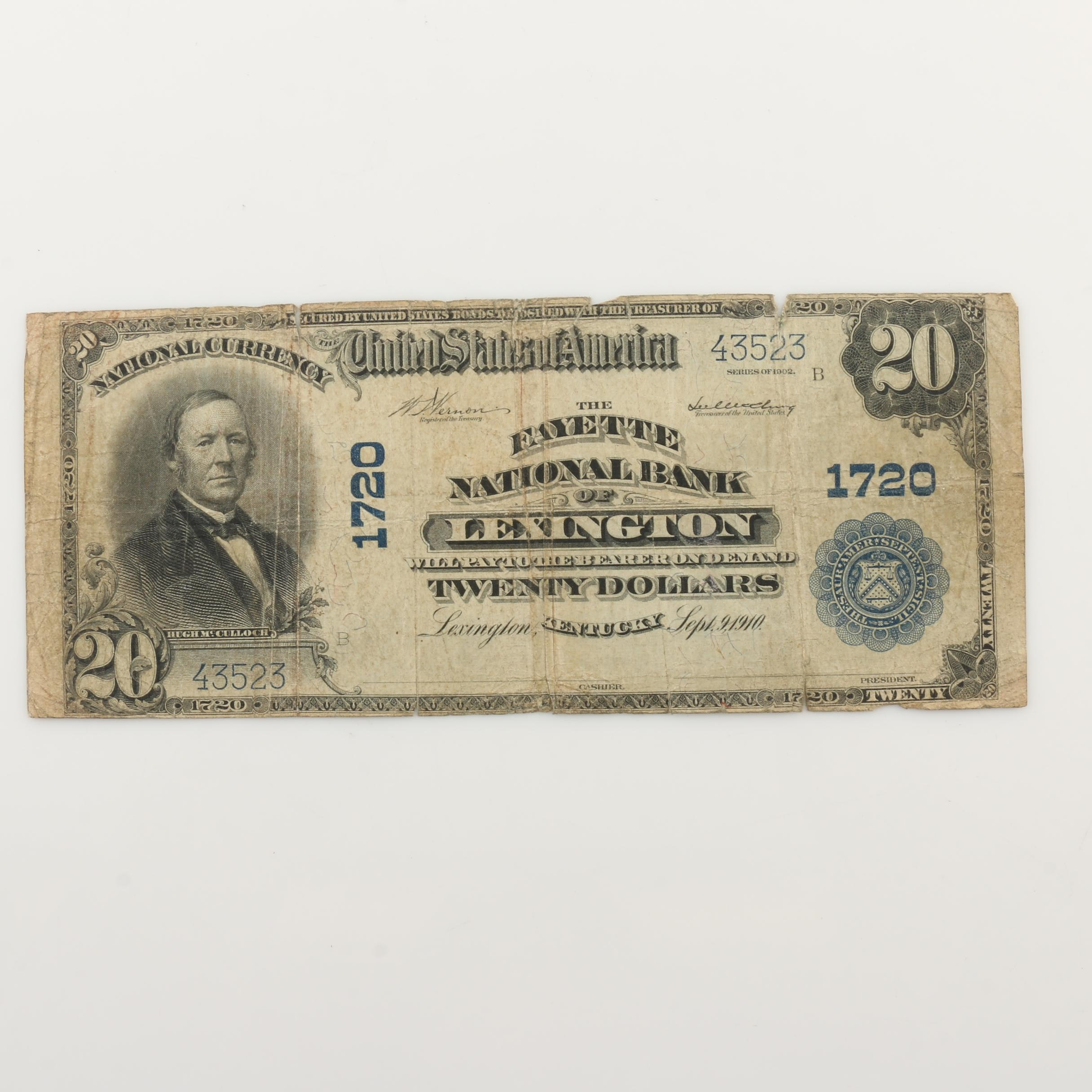 Large Format Series of 1902 $20 National Currency Note