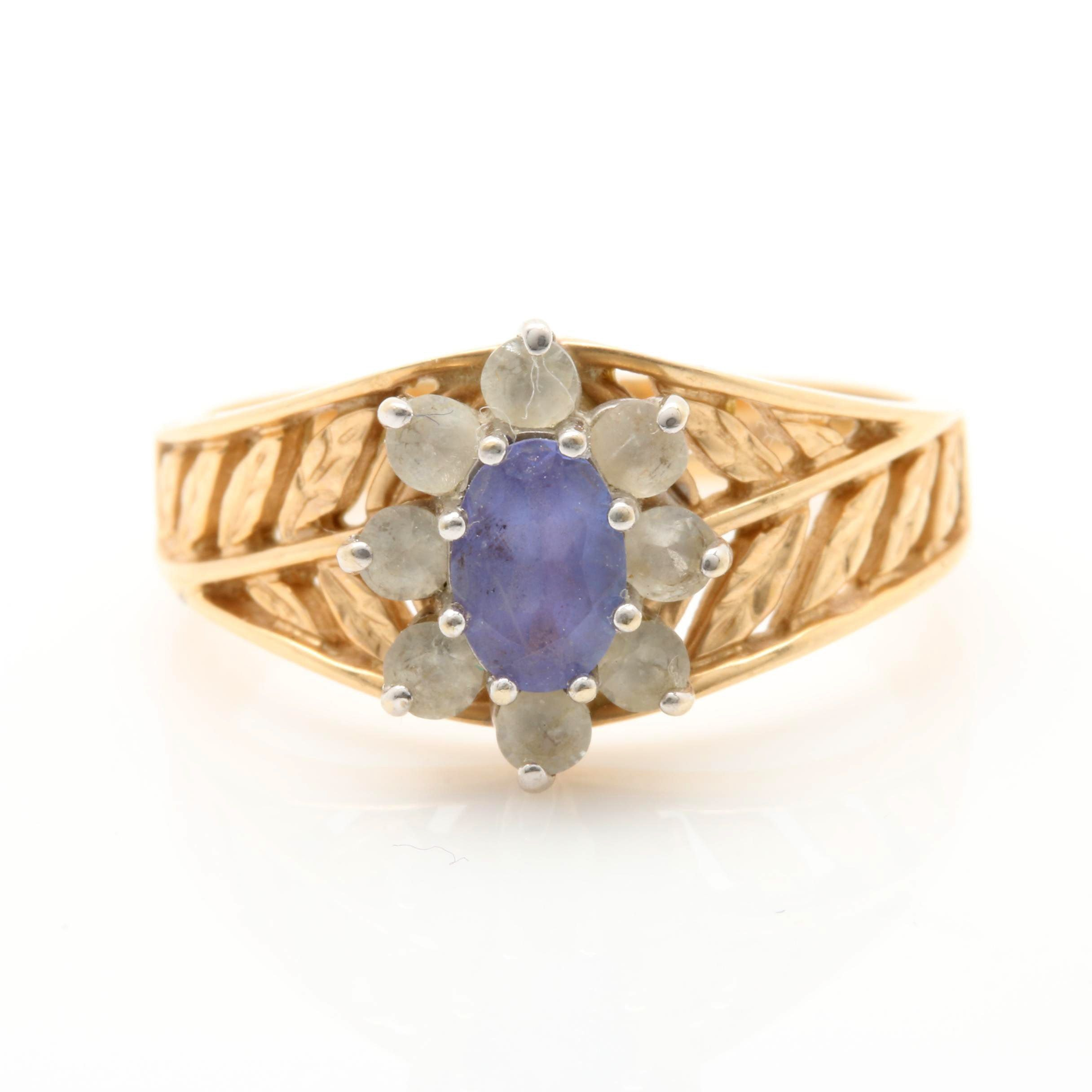 14K Yellow Gold Tanzanite and White Topaz Ring