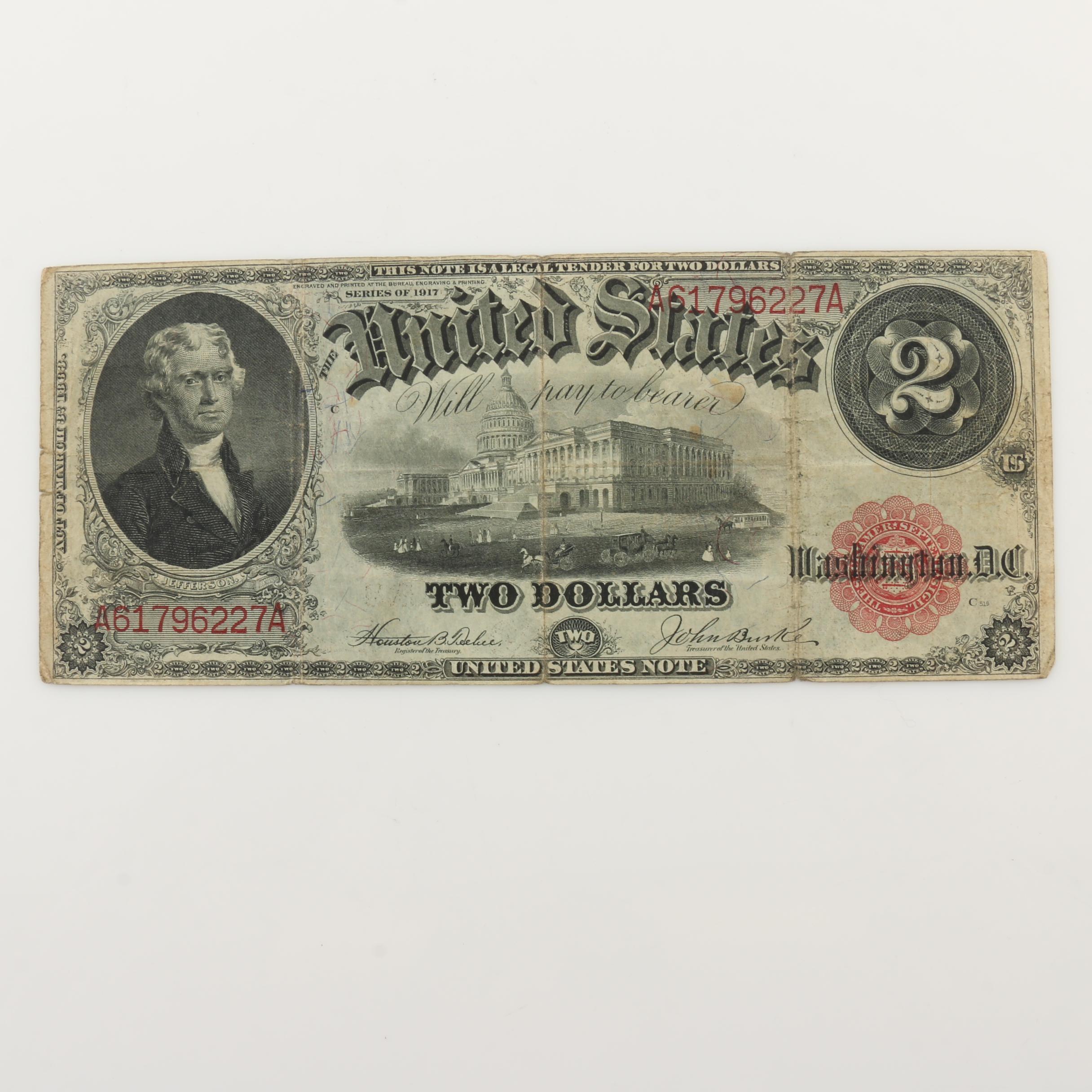 Large Format Series of 1917 $2 Legal Tender Note
