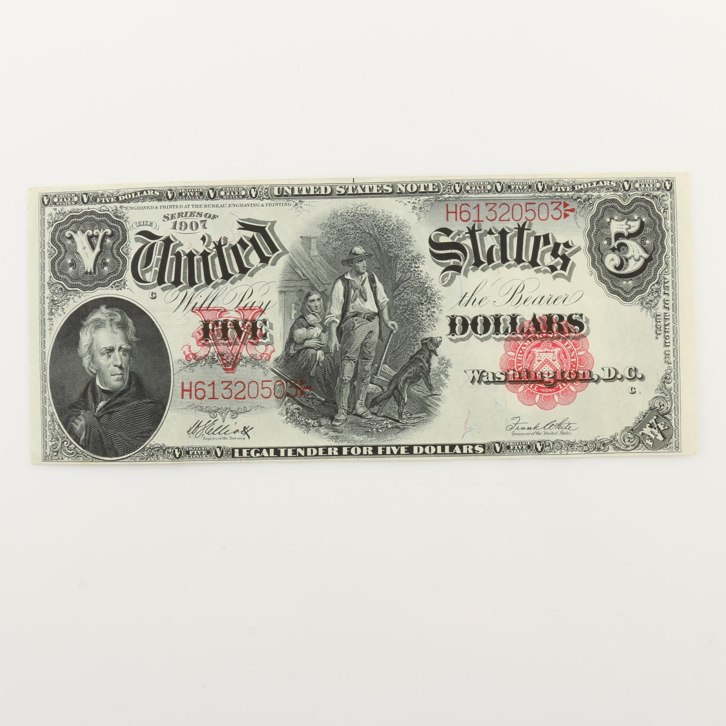 Large Format Series of 1907 $5 Legal Tender Note