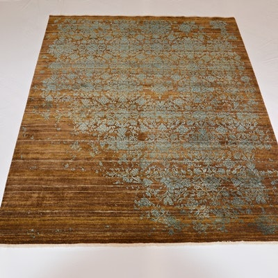Hand-Knotted Jaipur Damask Wool and Silk Area Rug