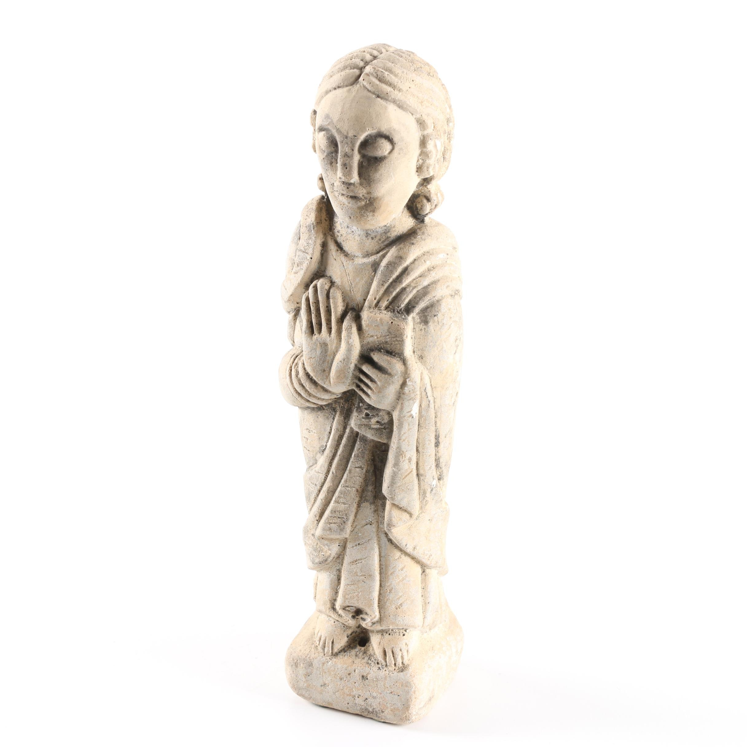 Romanesque Style Carved Sandstone Figure