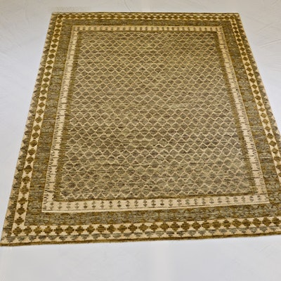 Hand-Knotted Indian Moroccan Design Wool Area Rug