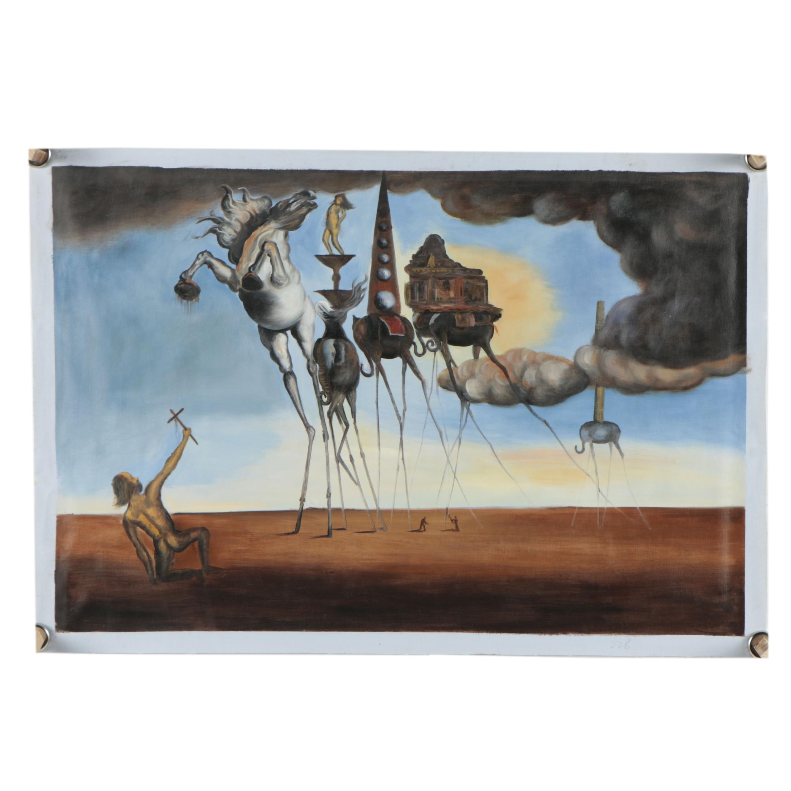 """Oil Copy Painting after Salvador Dali """"The Temptation of St. Anthony"""""""