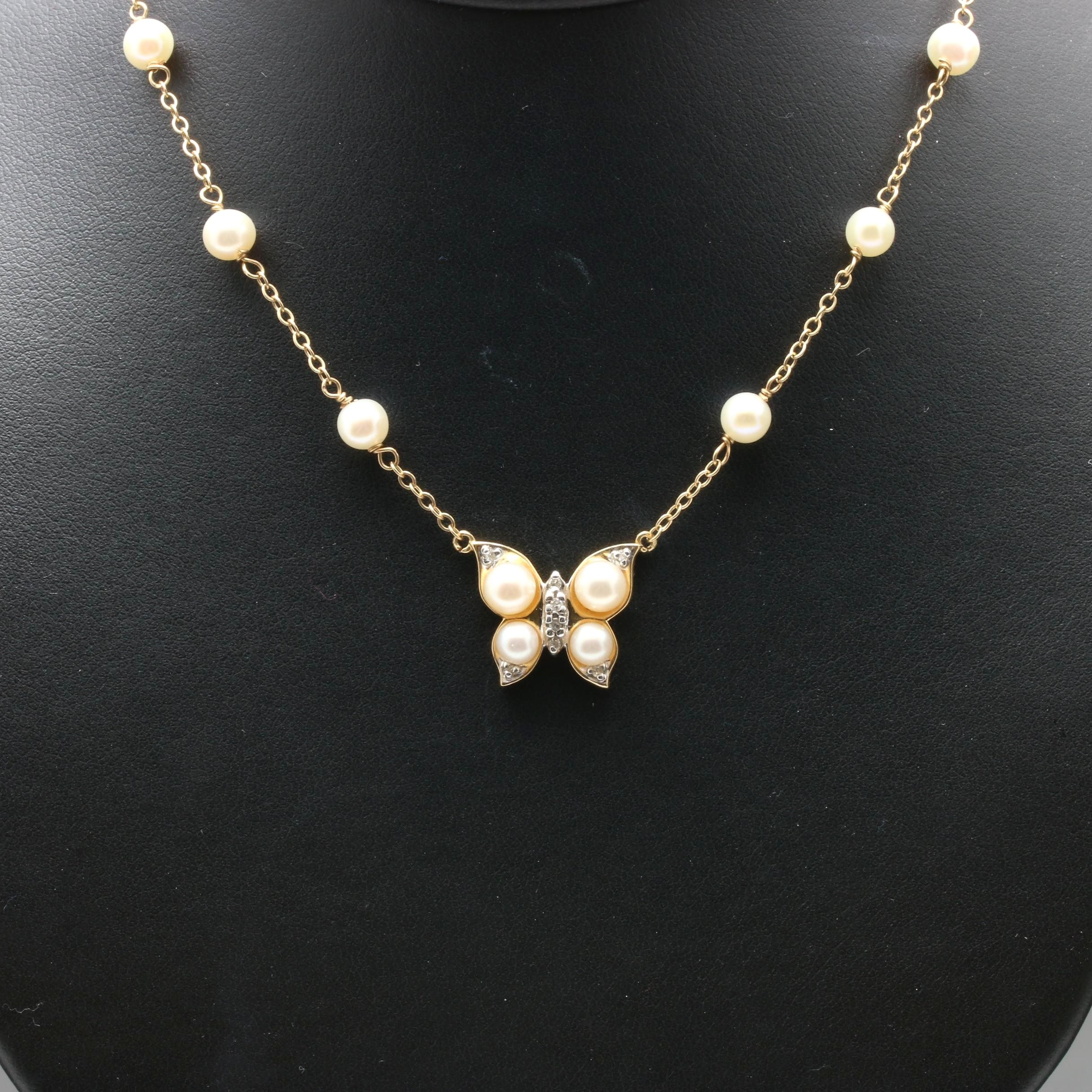 14K Yellow Gold Cultured Pearl and Diamond Butterfly Necklace