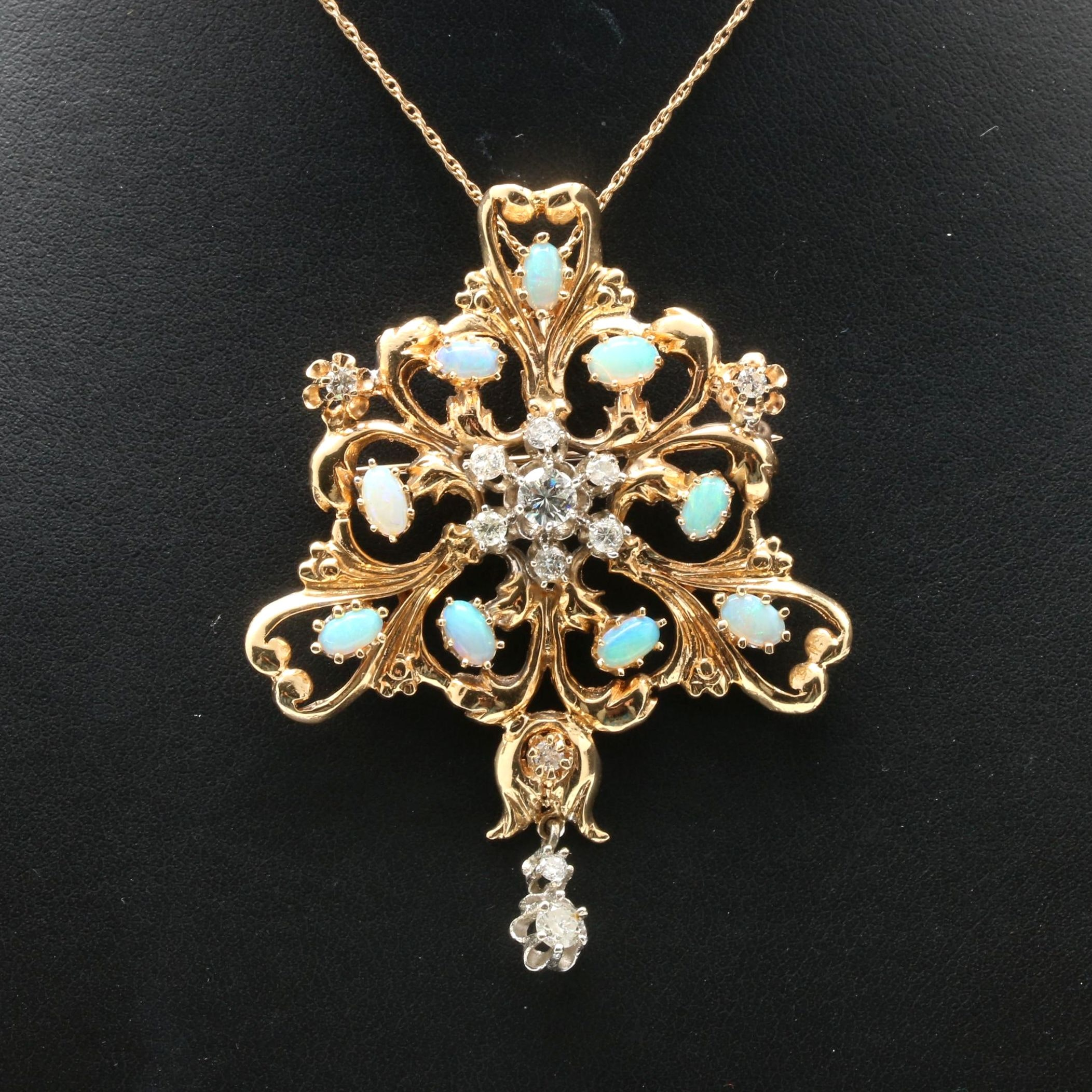 Vintage 14K Yellow Gold Diamond and Opal Pendant Necklace