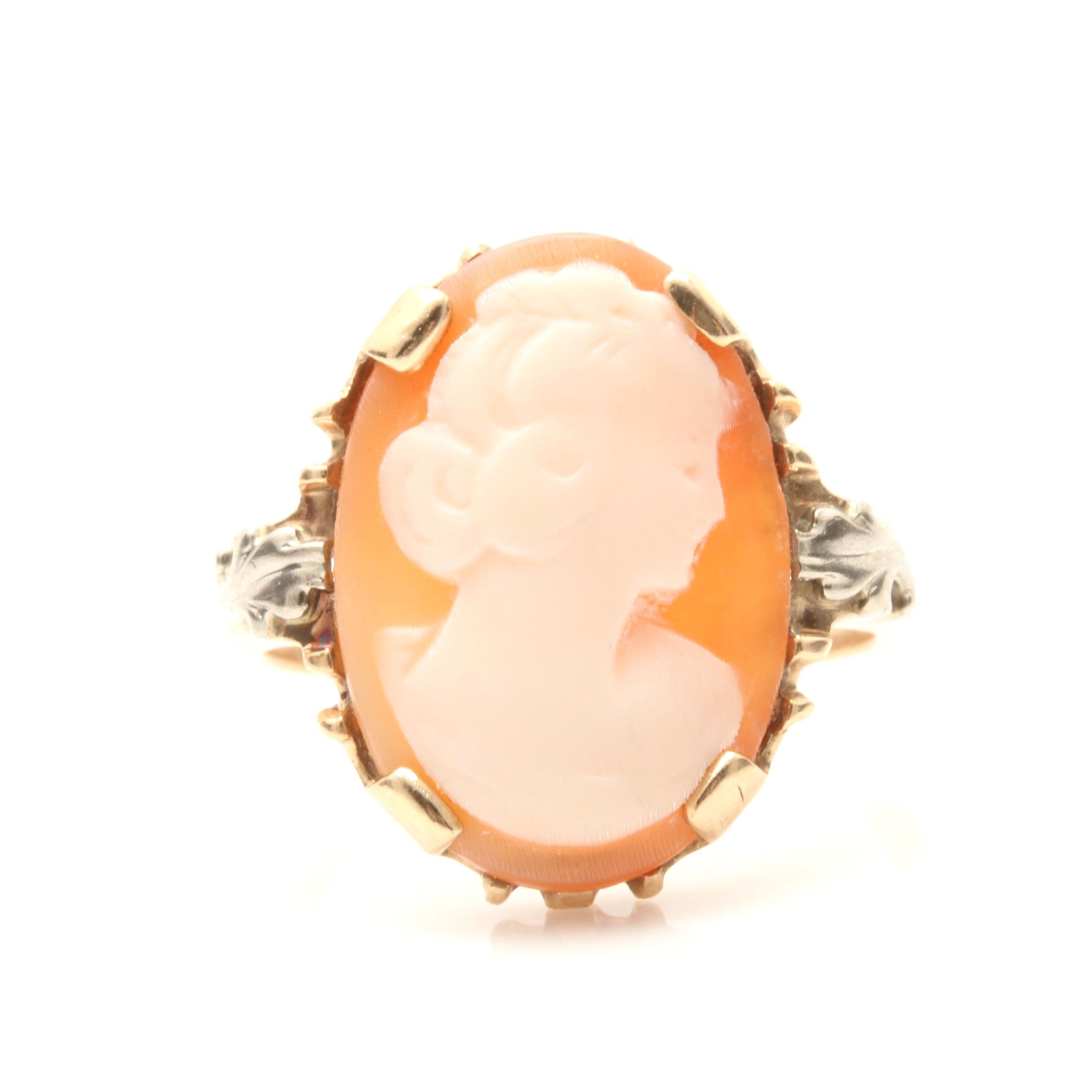 10K Yellow Gold Shell Cameo Ring