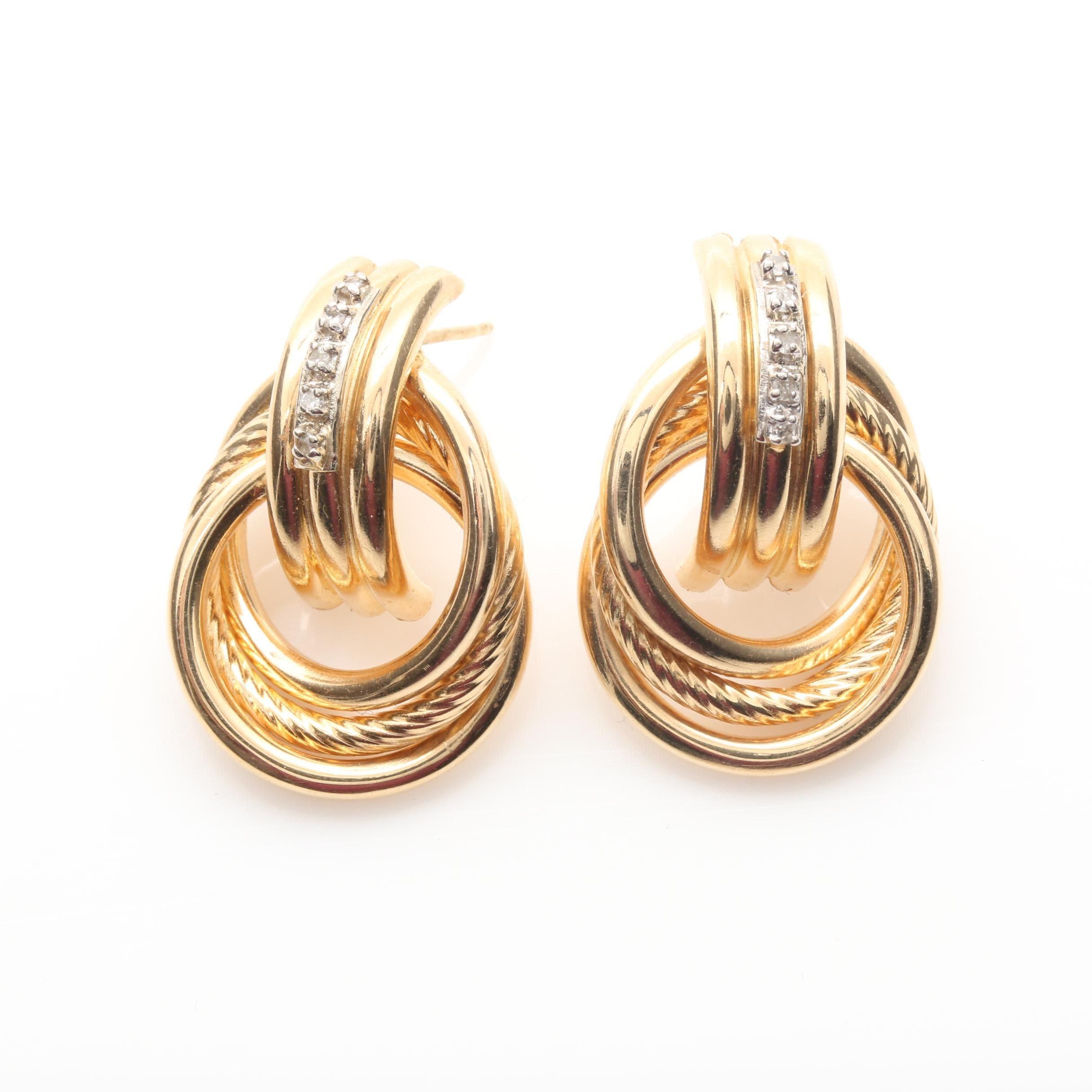14K Yellow Gold Diamond Doorknocker Earrings