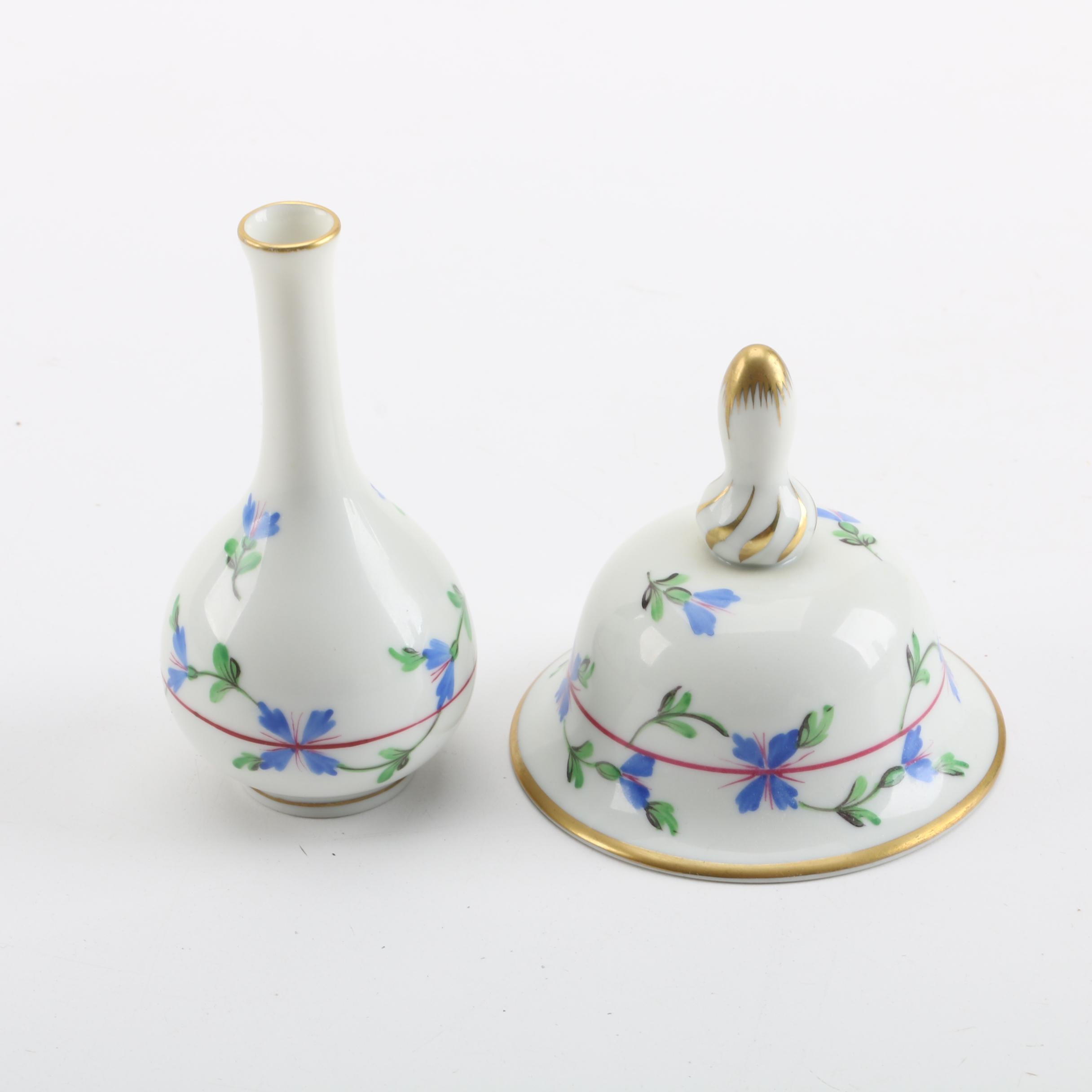 "Herend Hungary ""Blue Garland"" Porcelain Bud Vase and Matching Bell"