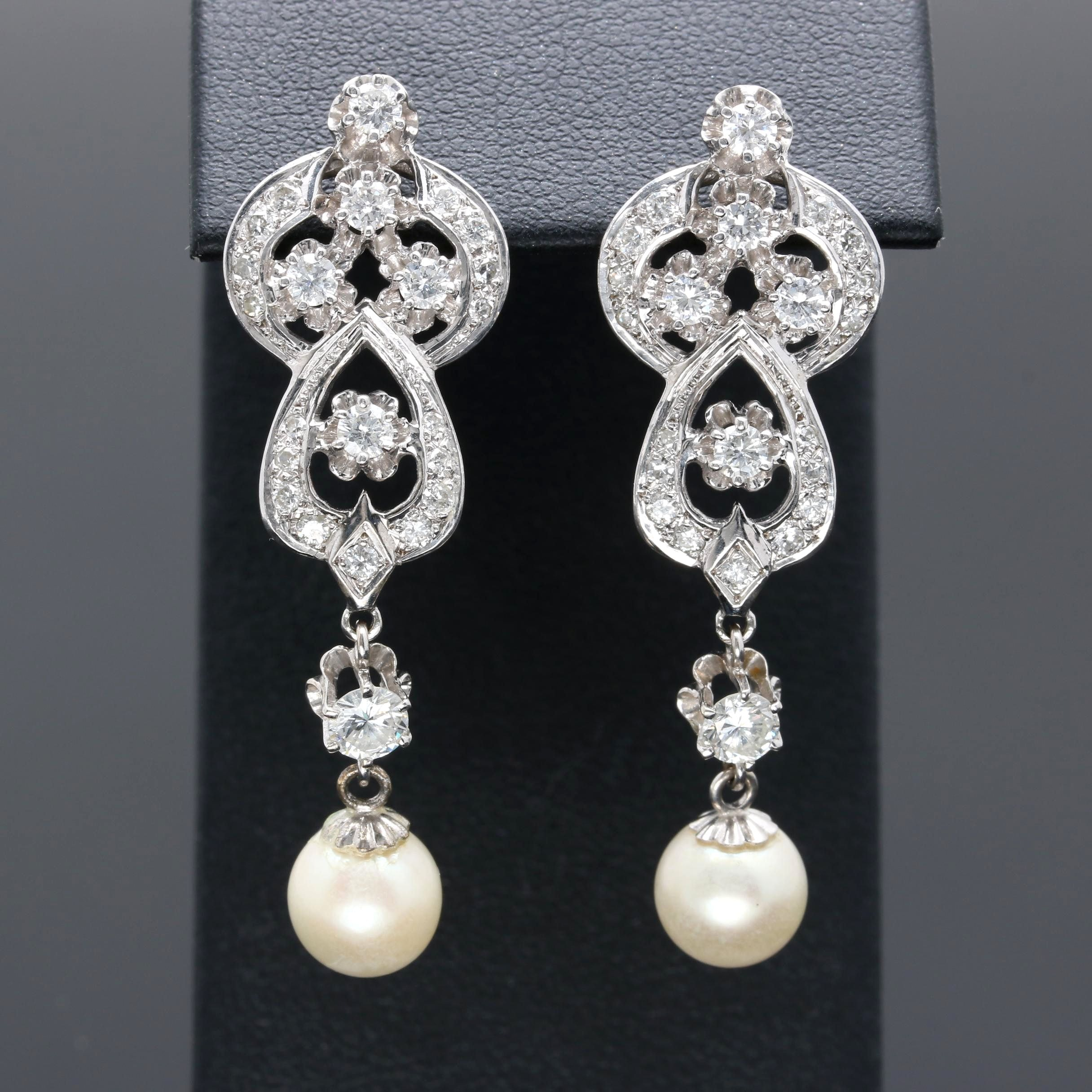 14K White Gold 1.81 CTW Diamond and Cultured Pearl Earrings