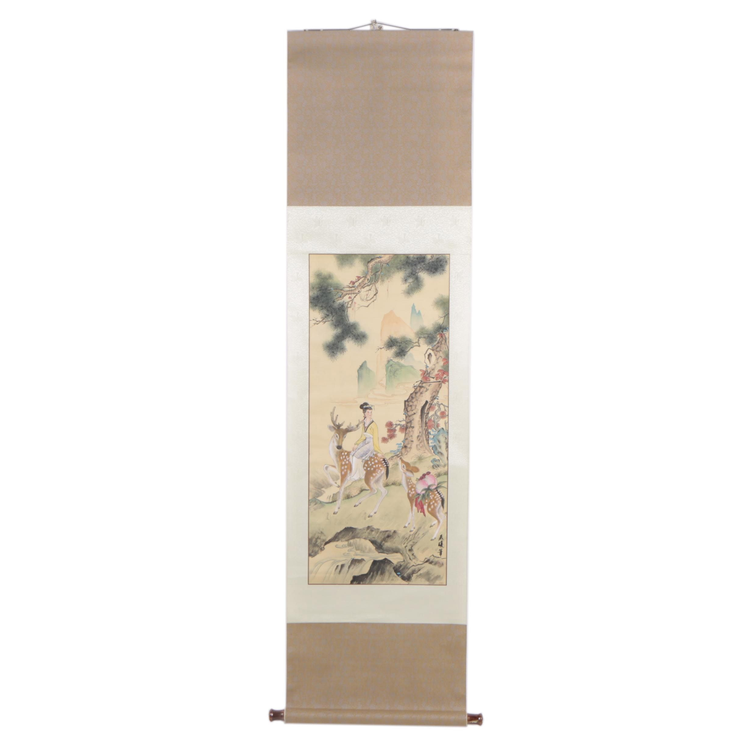 Chinese Gouache Silk Hanging Scroll of Woman and Deer