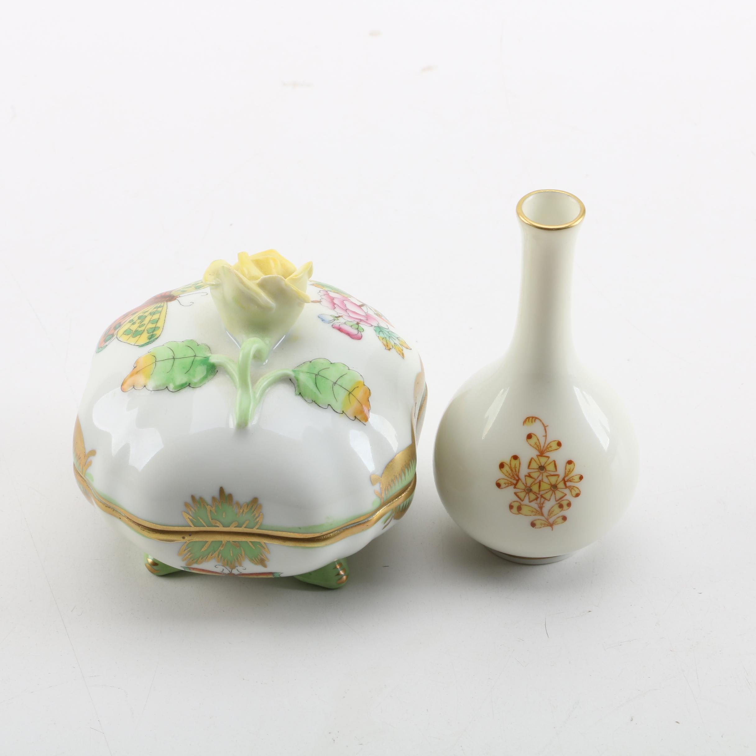 Herend Hungary Floral Motif Trinket Dish and Bud Vase