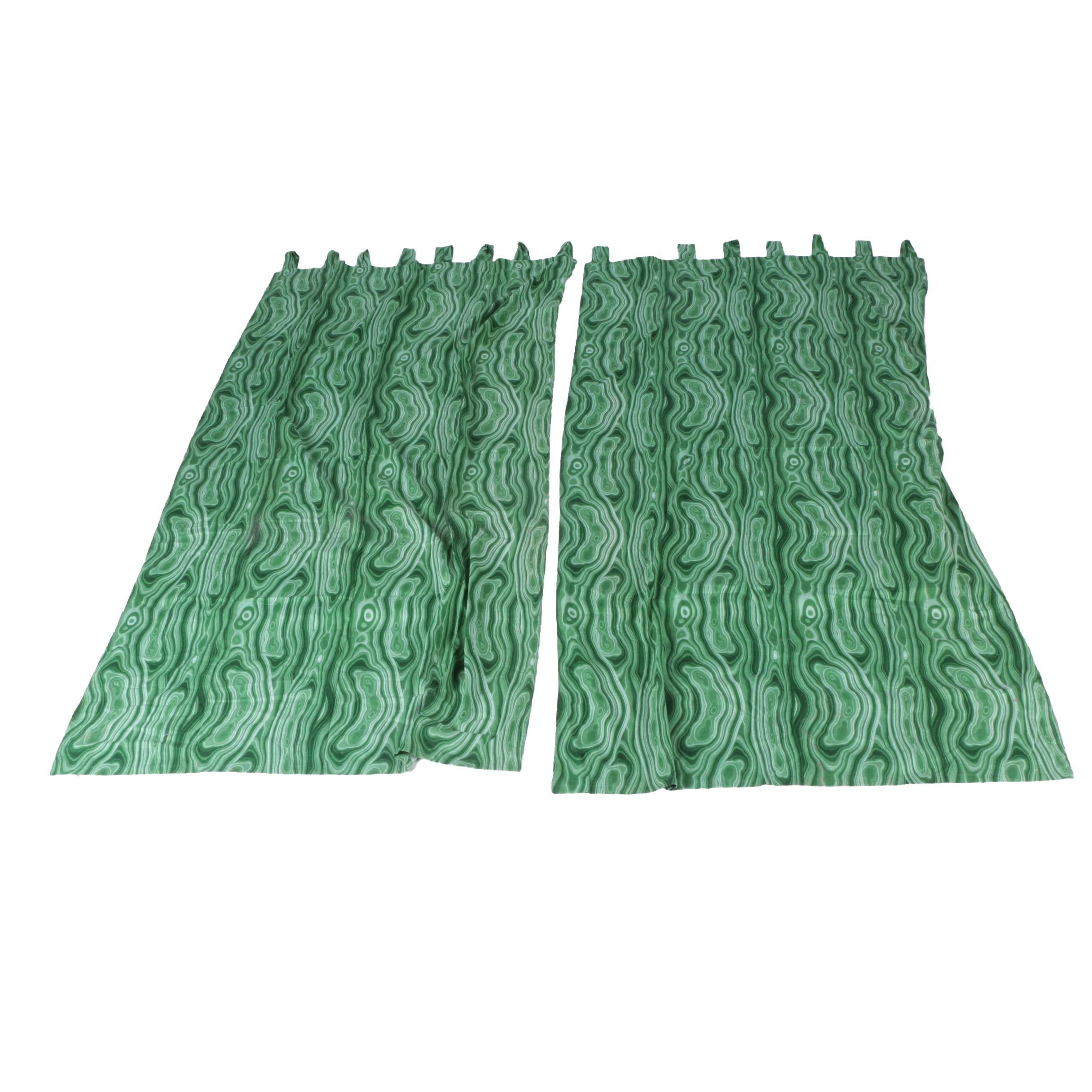Pair of Patterned Green Curtains