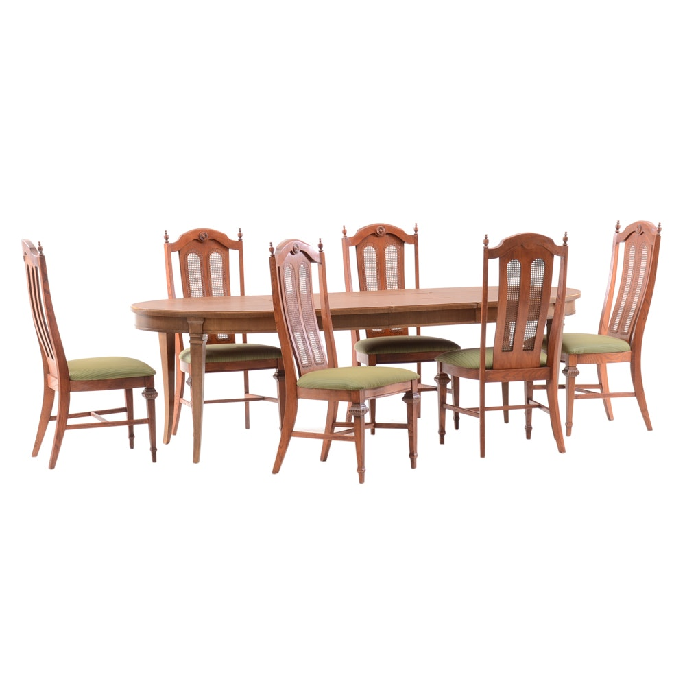 Mid-Century French Provincial Dining Table and Chairs by Drexel