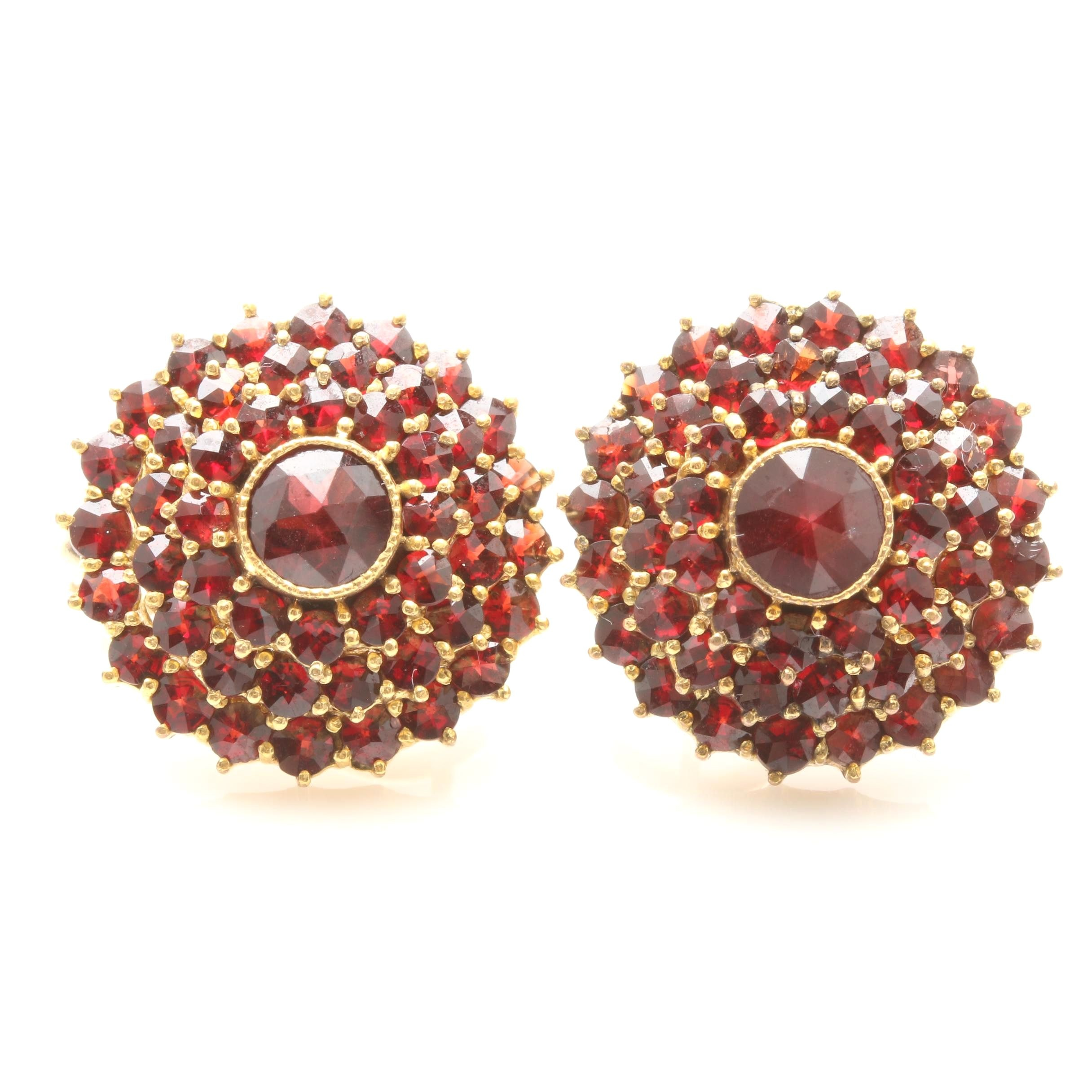 Vintage Garnet Earrings with 14K Yellow Gold Omega Backs