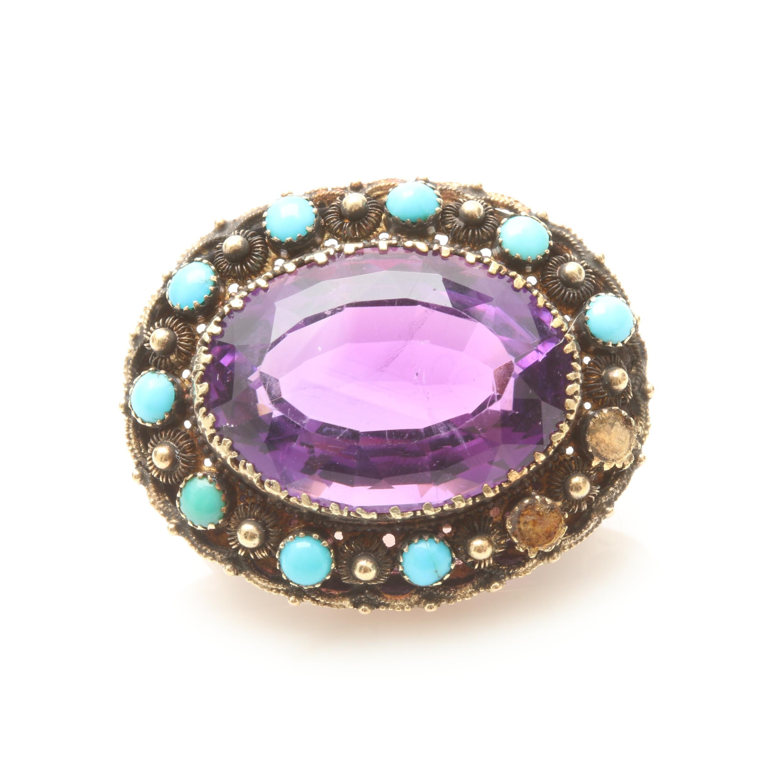 Vintage 10K Yellow Gold Amethyst and Turquoise Brooch