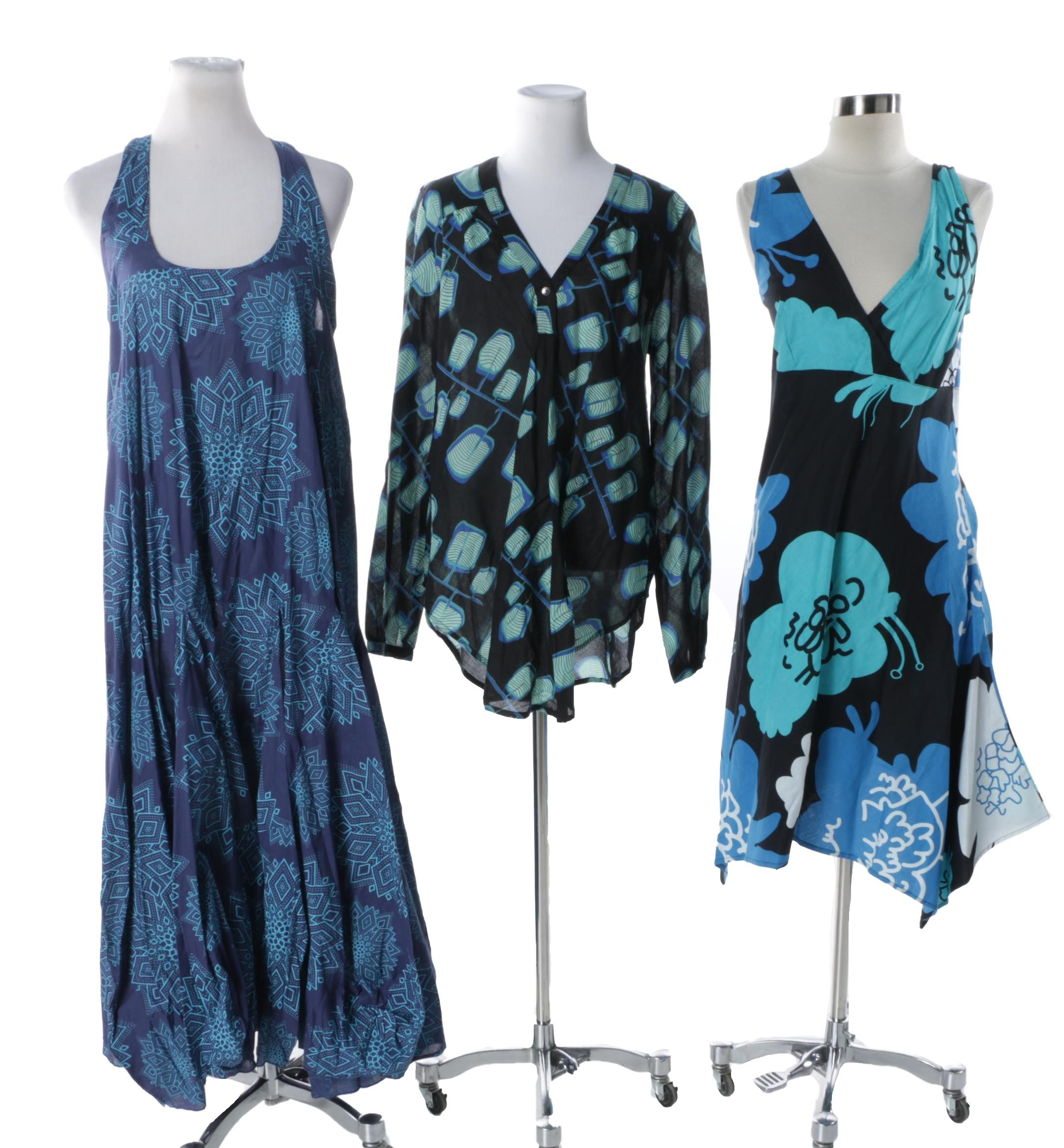Women's Aller Simplement Size Medium Blue Print Dresses and Top
