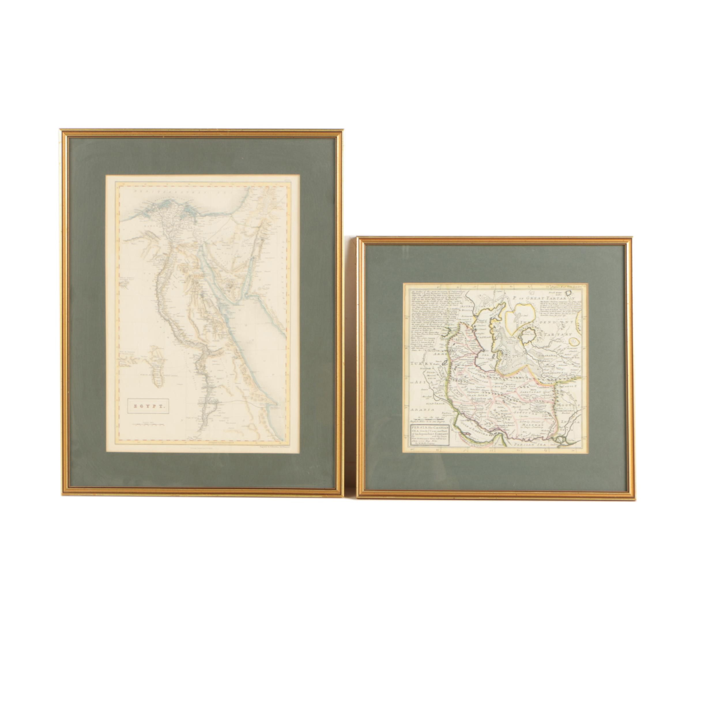 Two Antique Hand Colored Engraved Maps