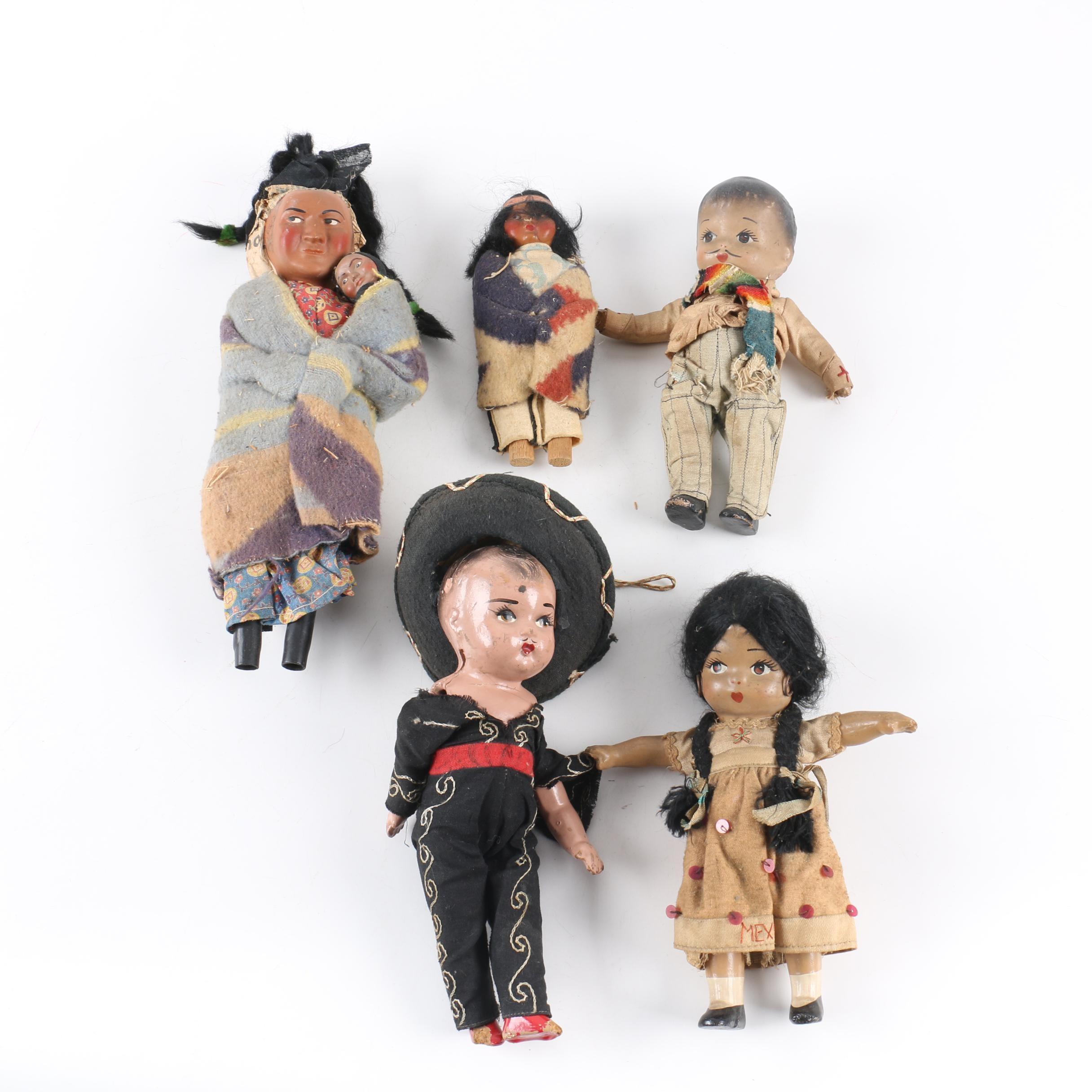 Vintage Skookum Style and Mexican Souvenir Dolls