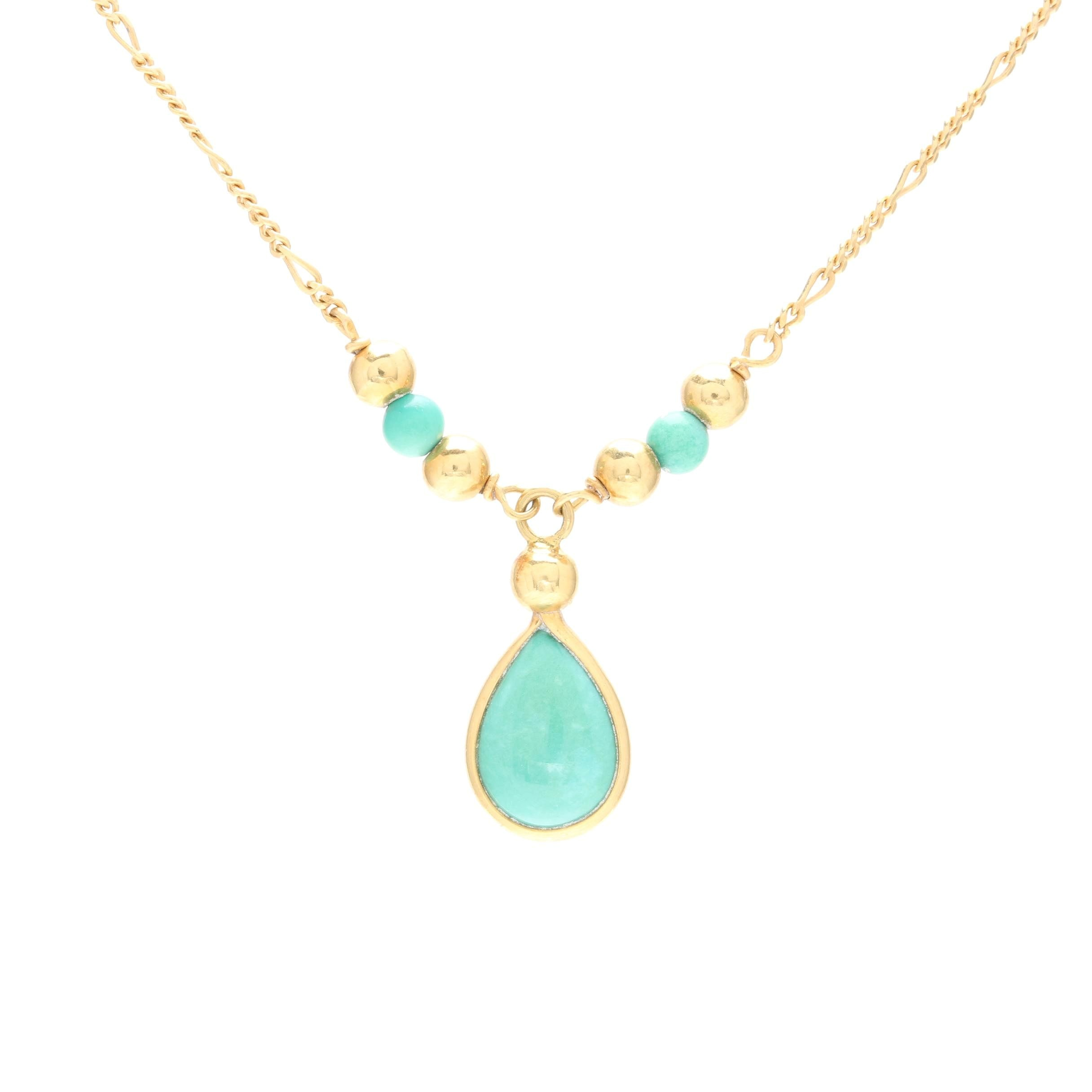 18K Yellow Gold Turquoise Necklace