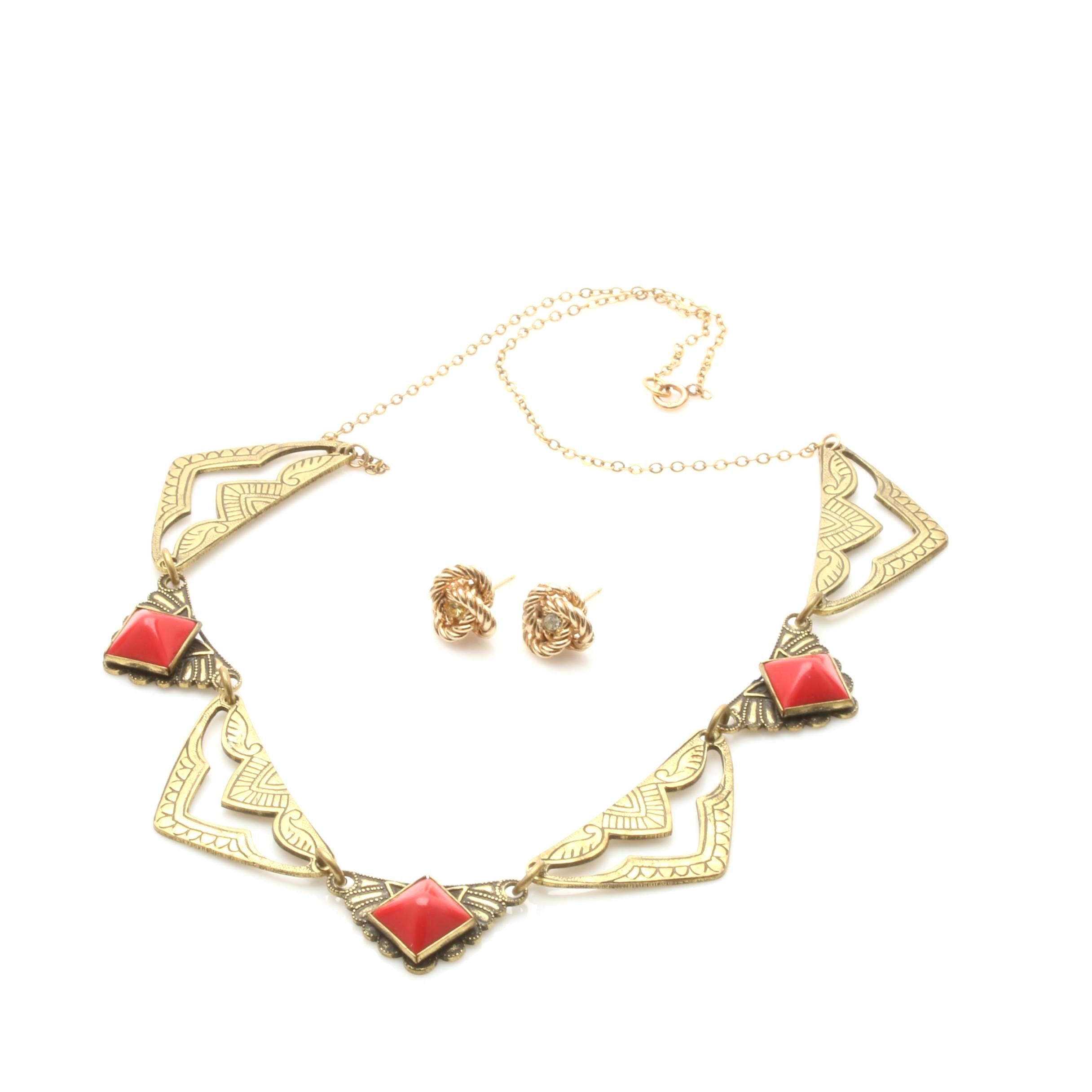 Red Plastic Pyramid Necklace with 14K Yellow Gold Chain and Knot Earrings