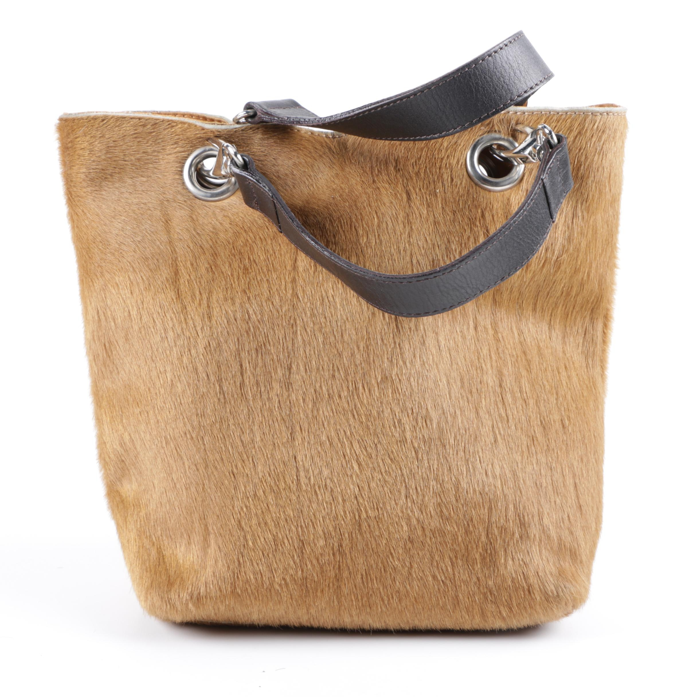 Maurizio Taiuti Italian Pony Hair and Leather Tote Bag