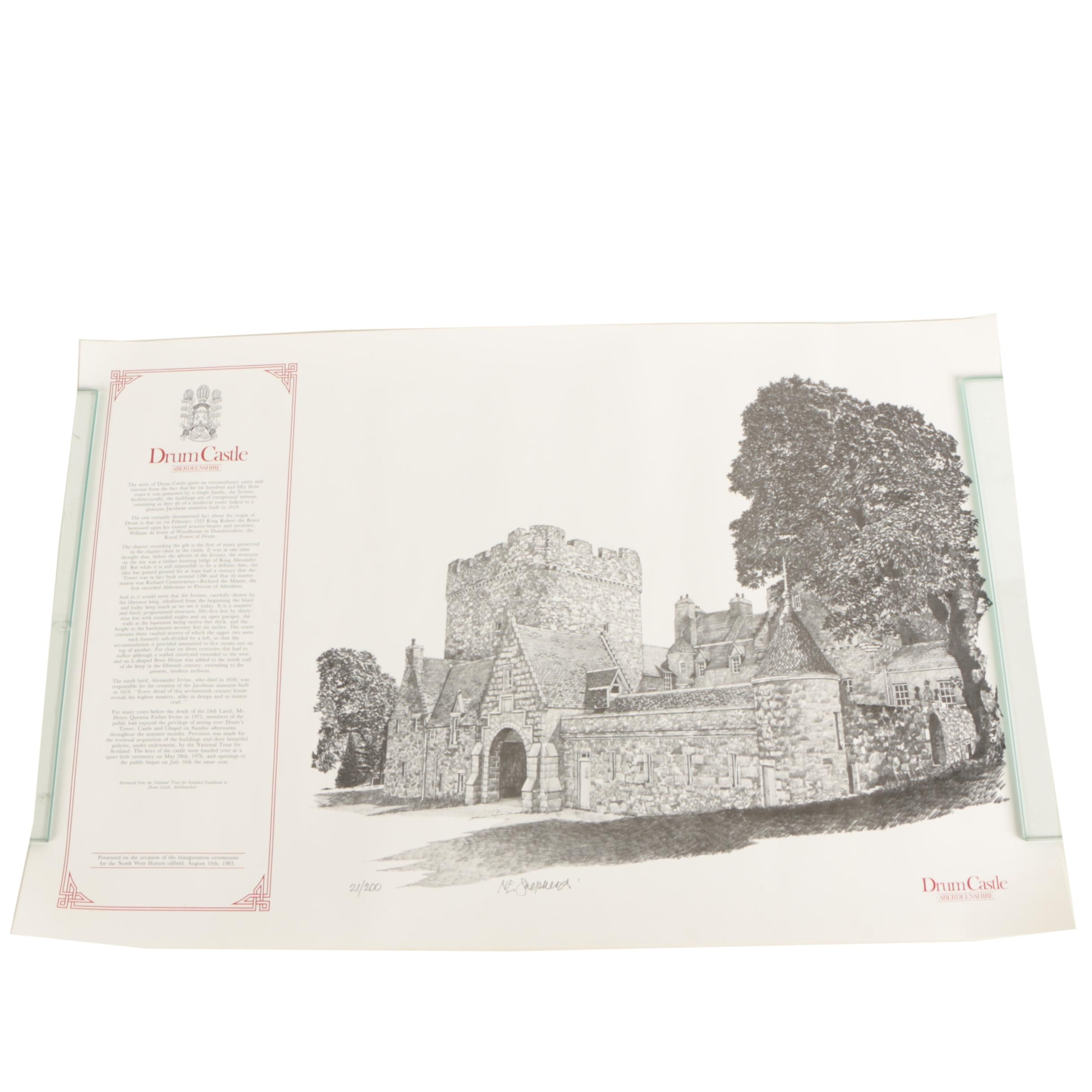 "N.E. Shepherd Limited Edition Halftone Print ""Drum Castle"""