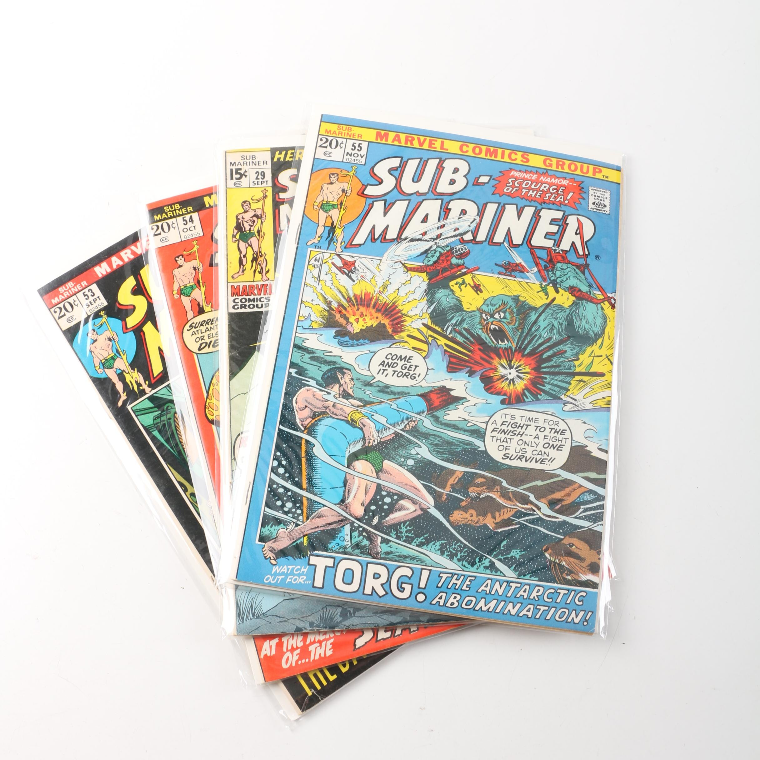 """4 Issues of Silver Age 1970s Marvel """"Sub-Mariner"""" Comic Books"""