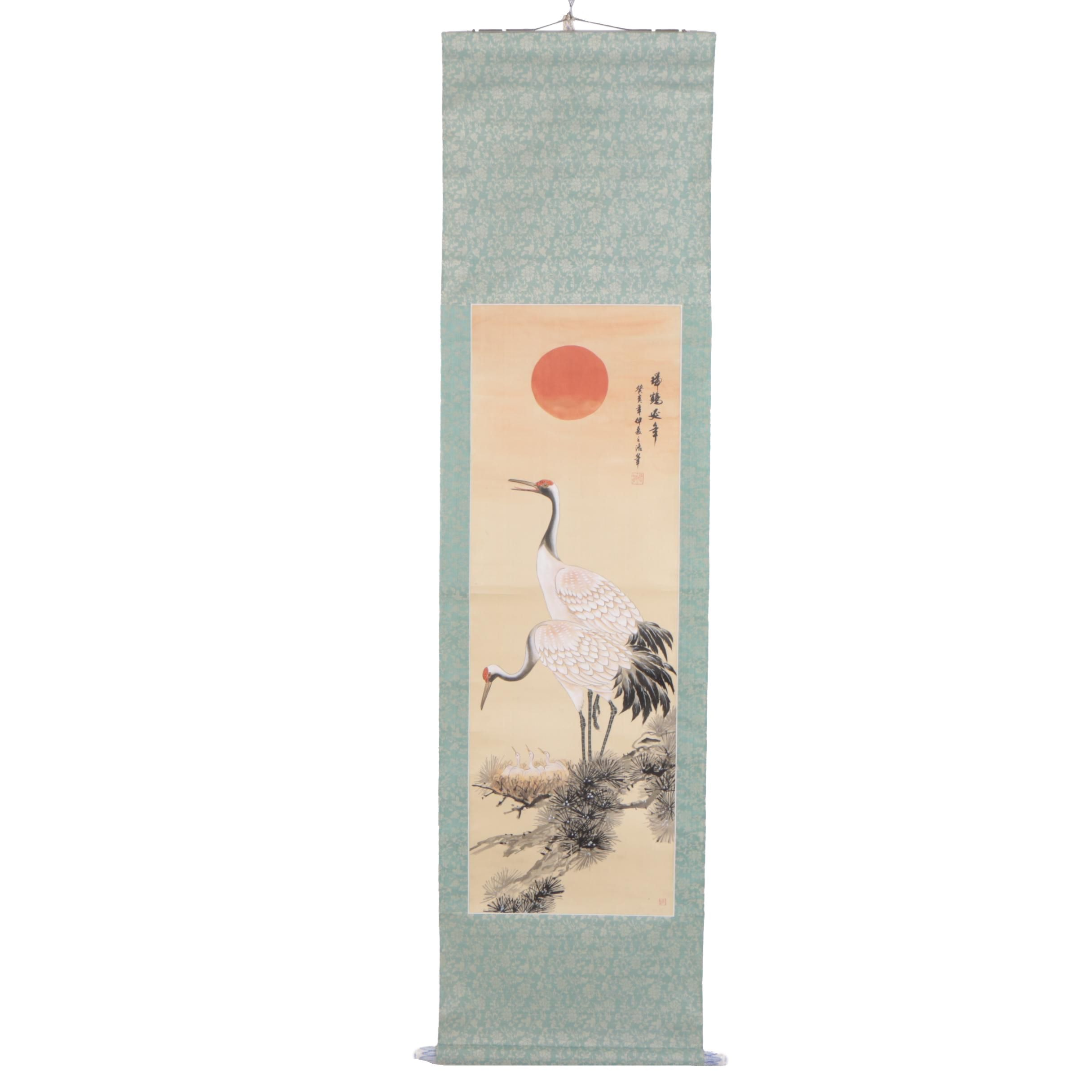 Chinese Gouache Hanging Scroll of Cranes