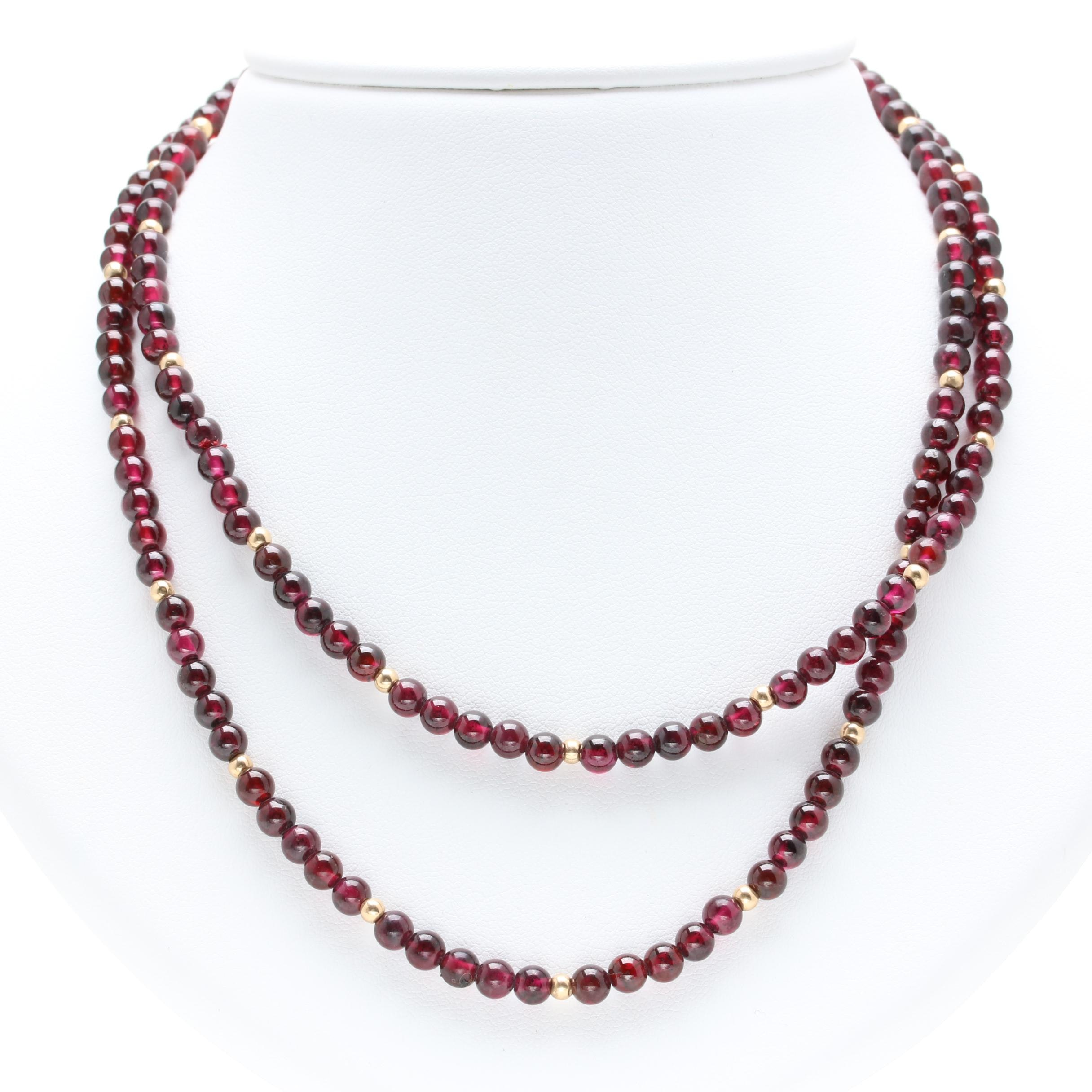 14K Yellow Gold Garnet Beaded Necklace