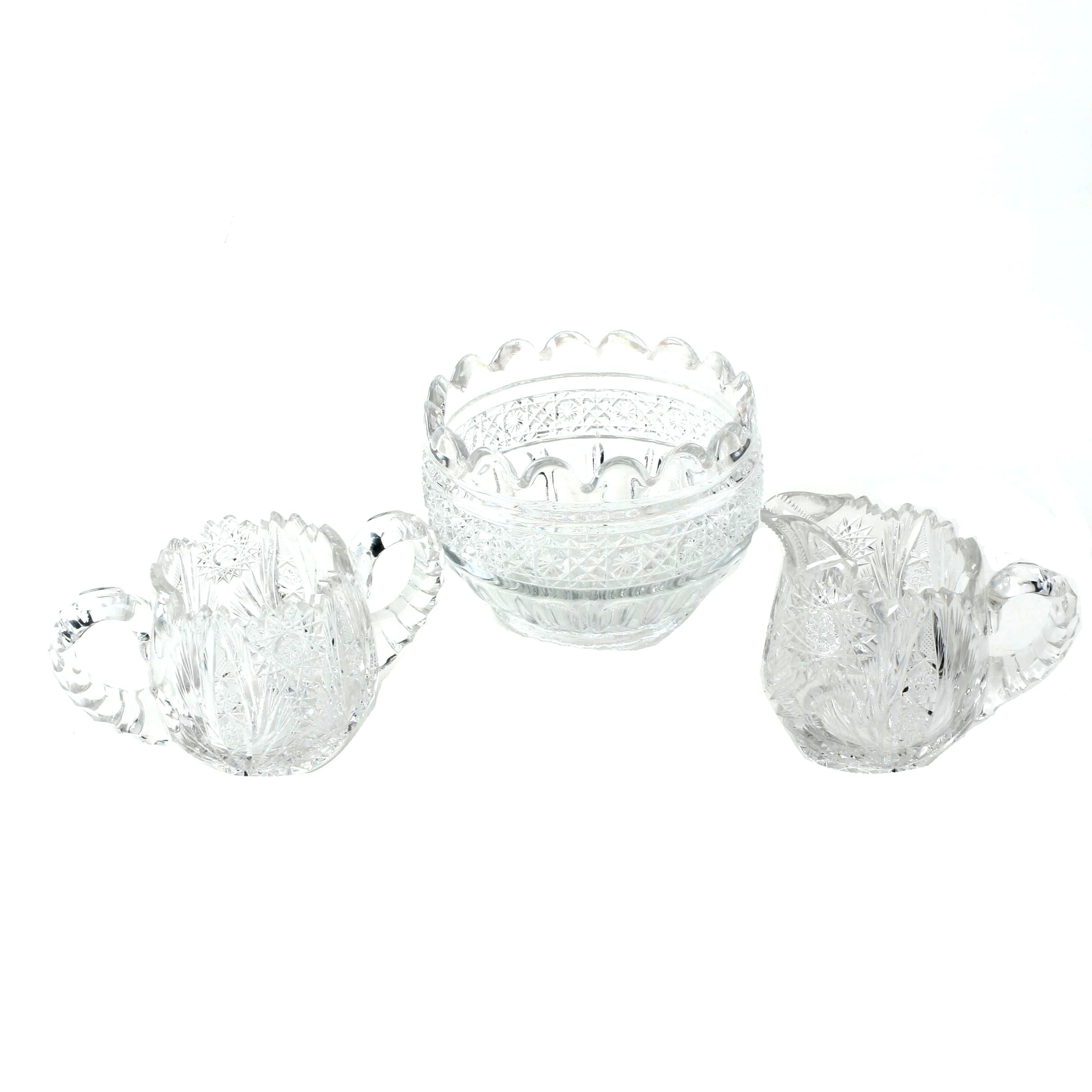 """Hobstar"" Sugar Bowl and Creamer with ""Daisy and Button"" Bowl"