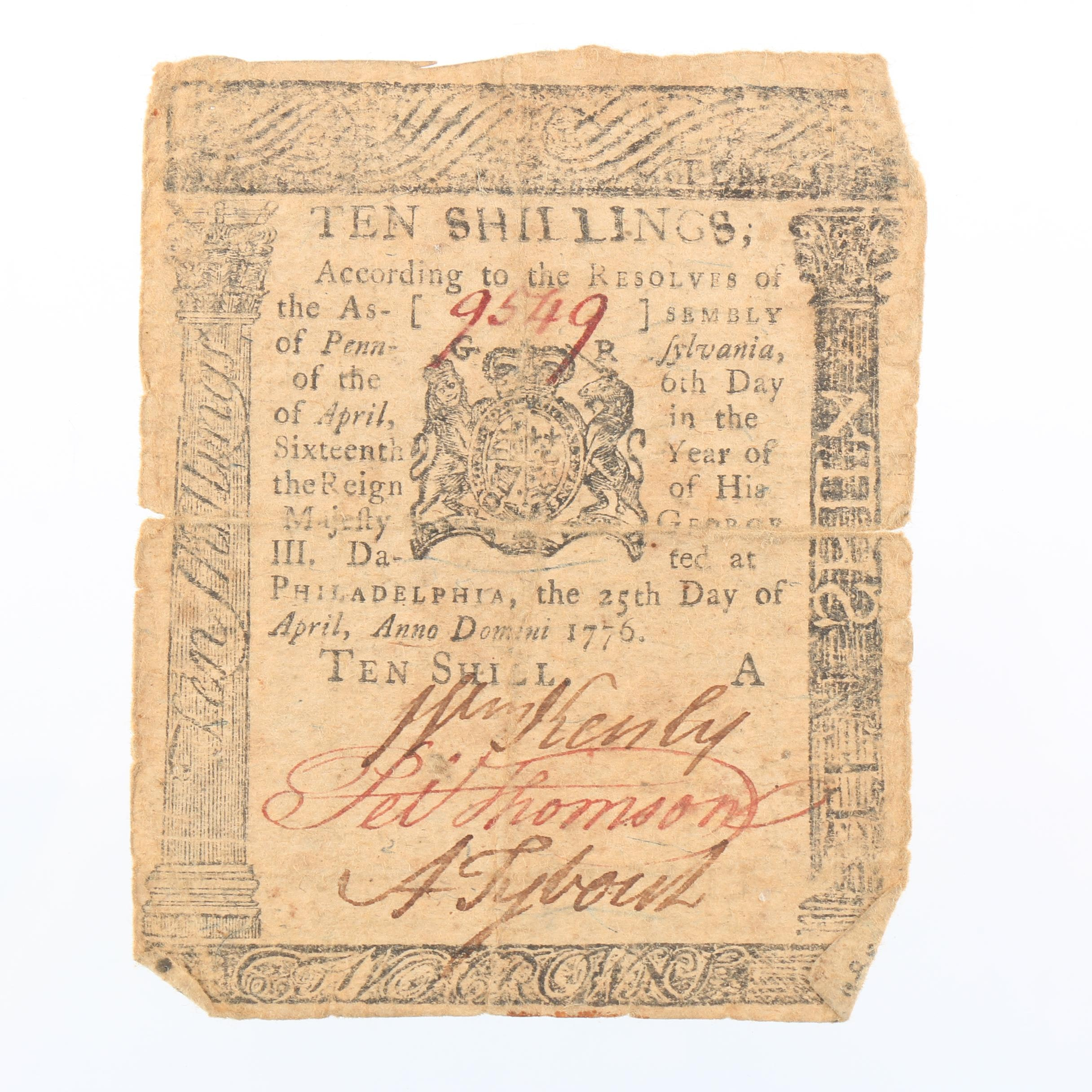 Pennsylvania Colonial Currency 10 Shilling Banknote from 1776