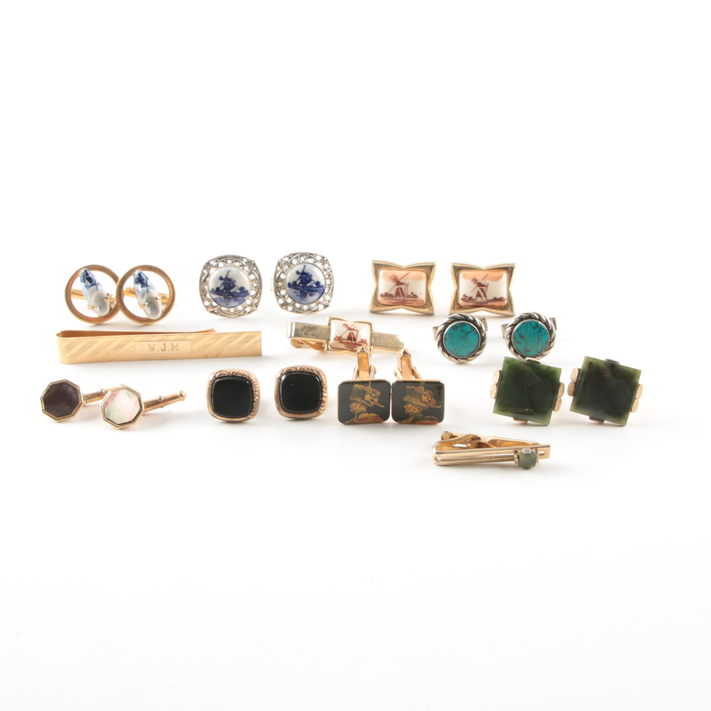 Silver and Gold Tone Nephrite, Onyx and Mother of Pearl Cufflinks and Tie Bars