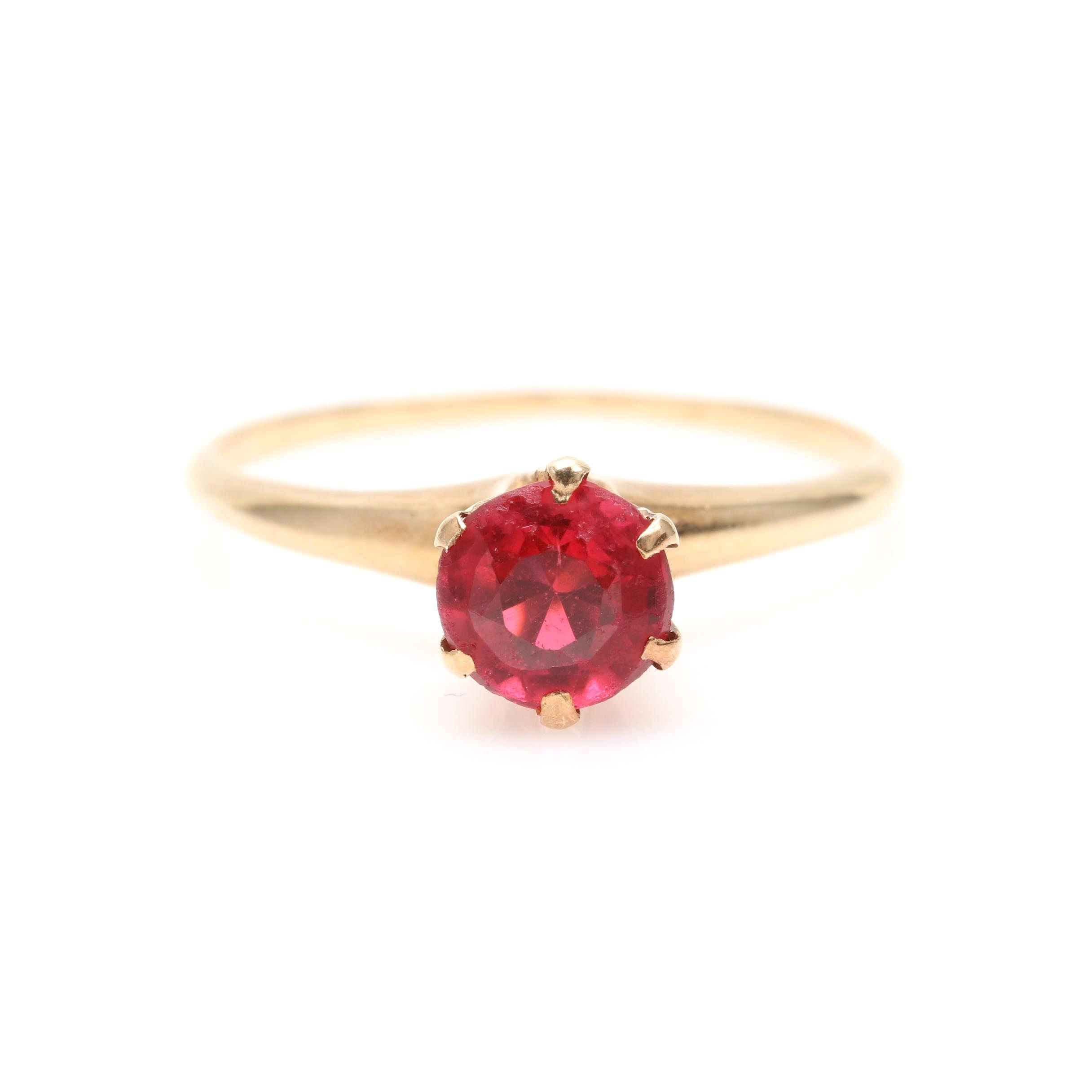 14K Yellow Gold Garnet Glass Doublet Solitaire Ring