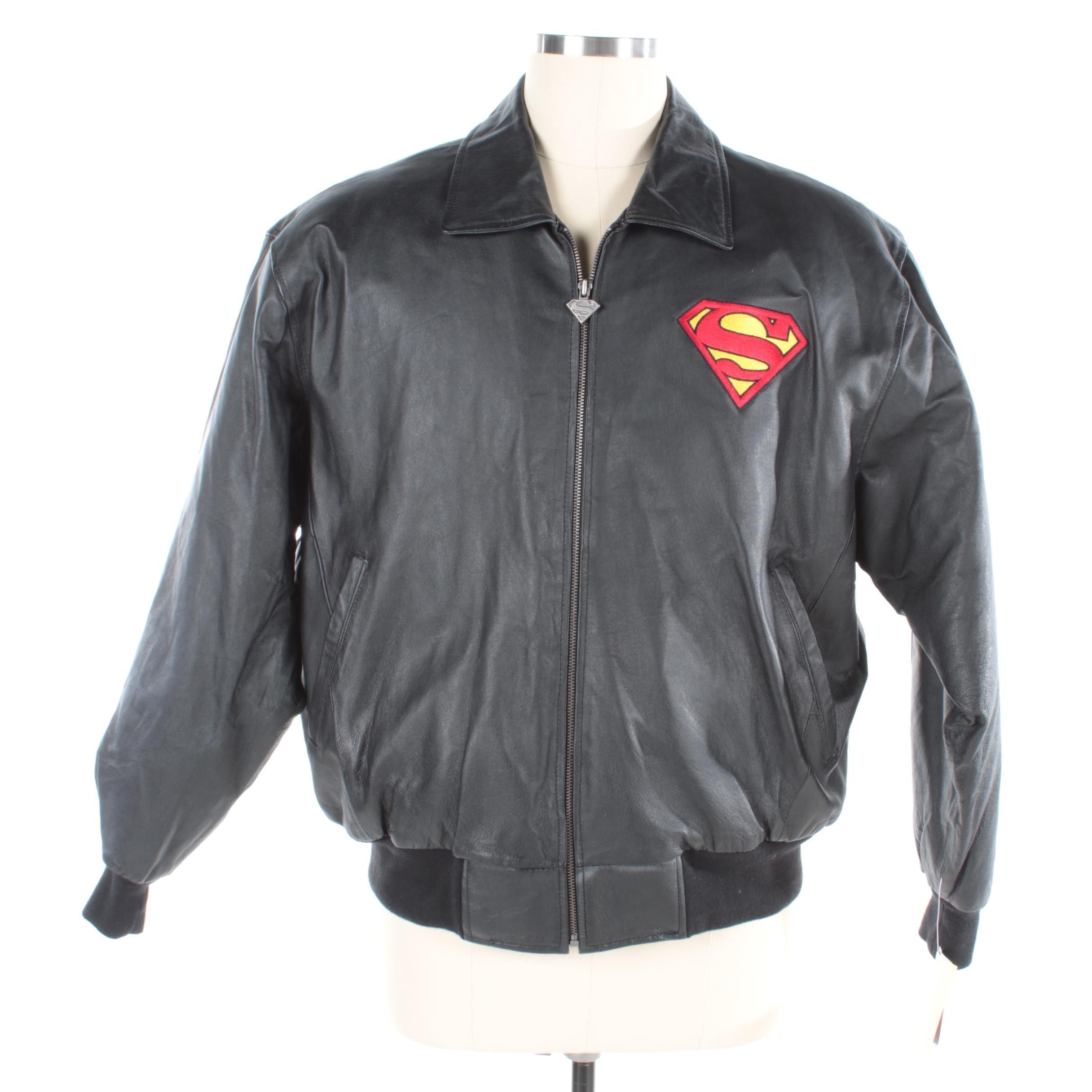 Men's Warner Bros. Superman Black Leather Bomber Jacket