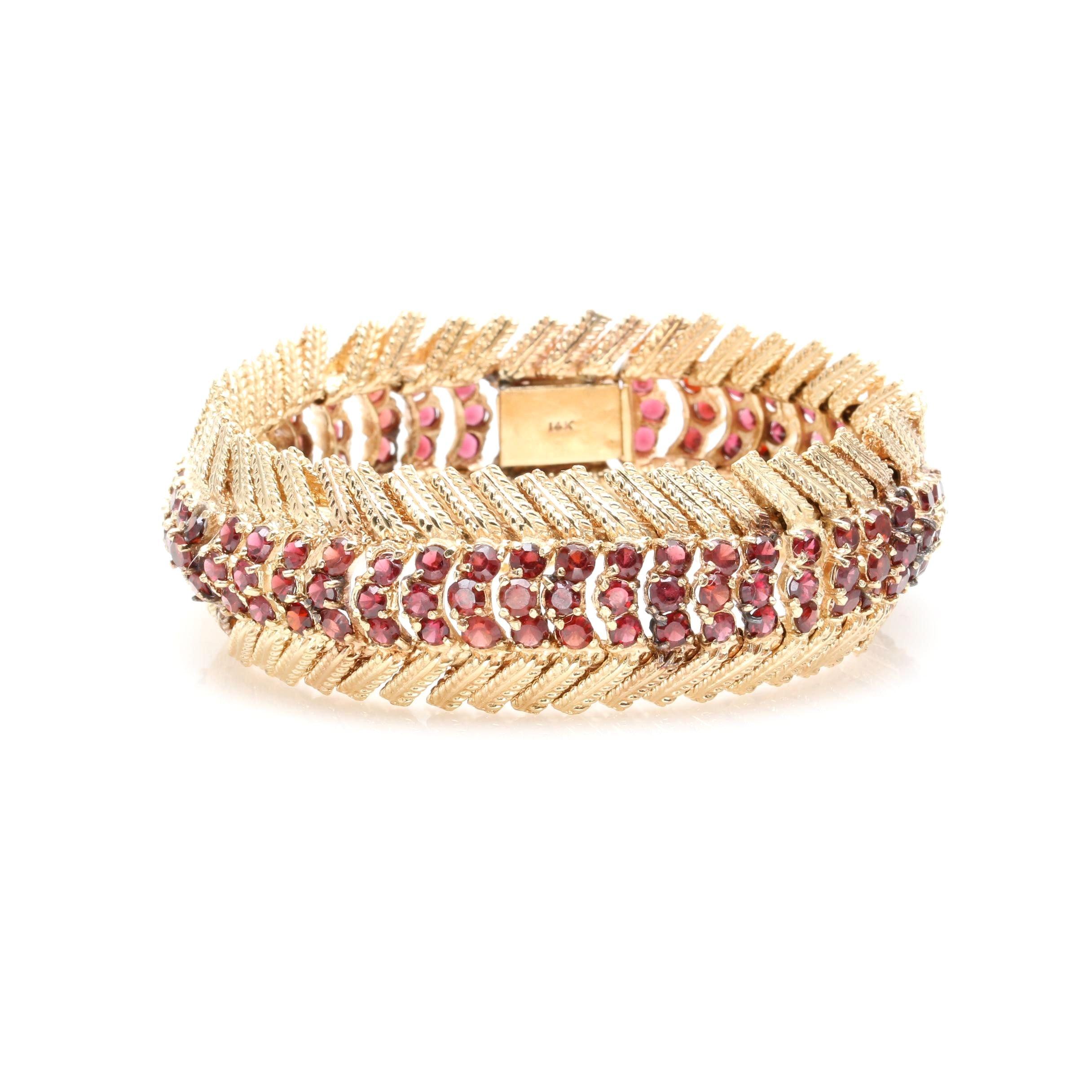 Vintage 14K Yellow Gold Garnet Articulated Bracelet
