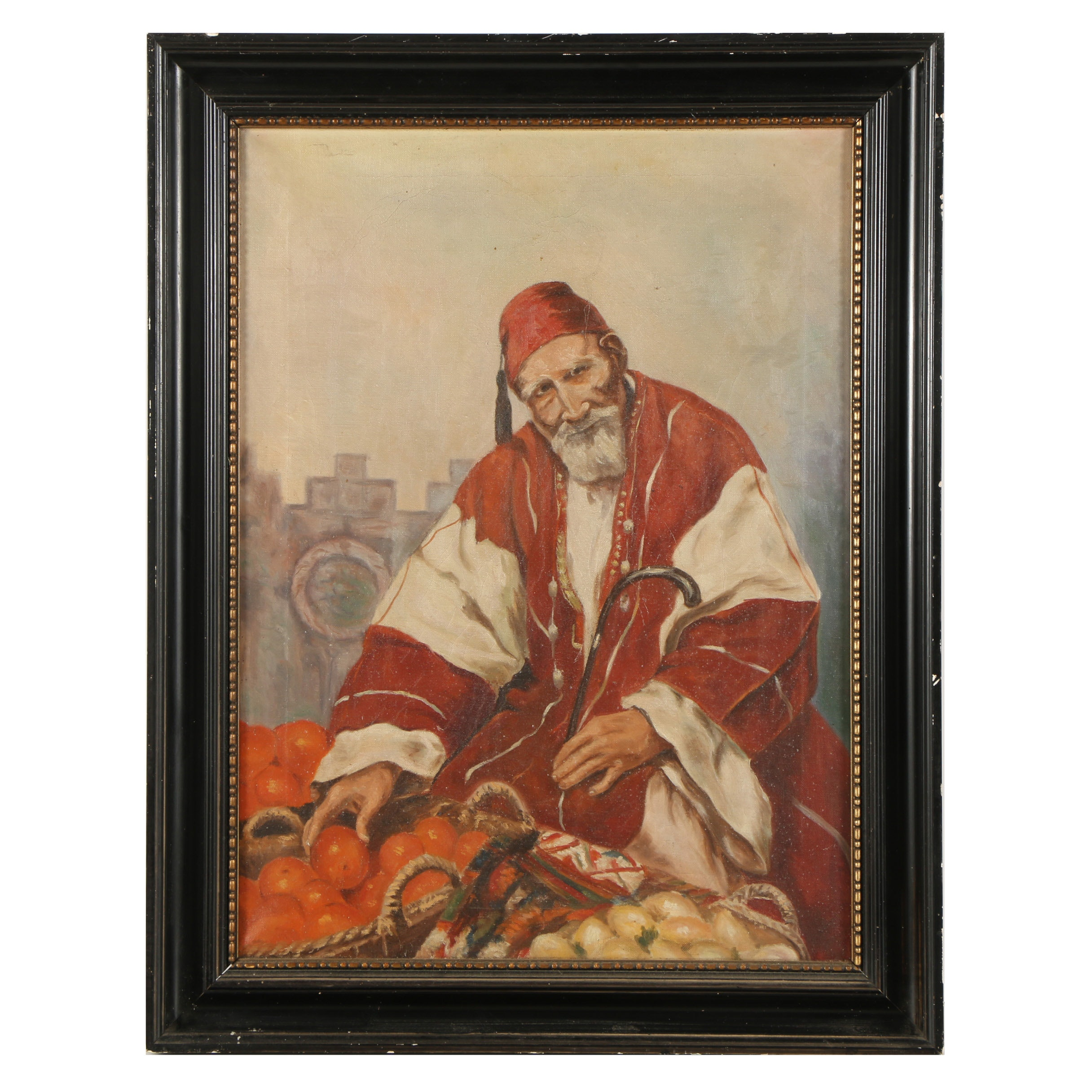 Early 20th Century Oil Portrait of Produce Market Vendor