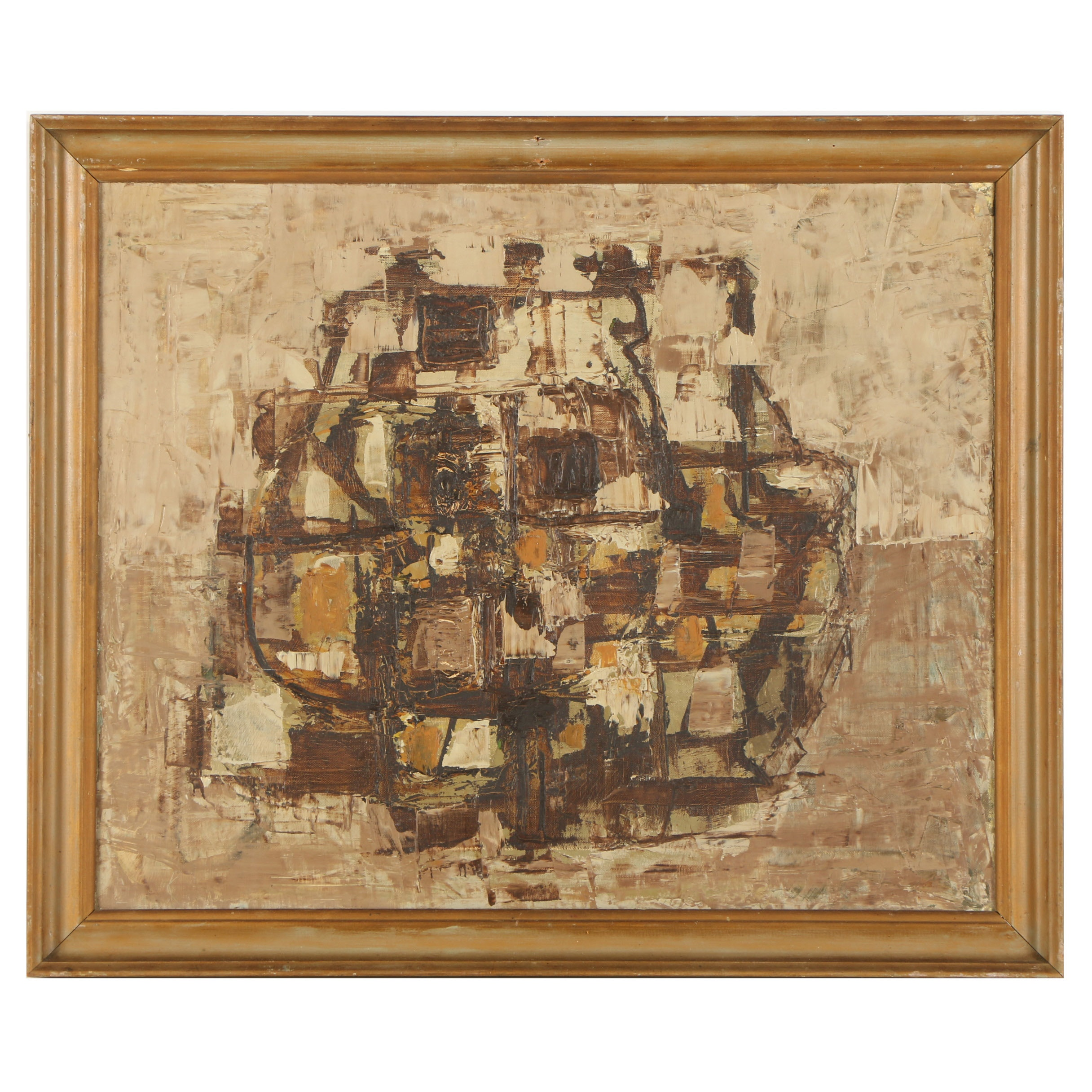 Circa 1960s Oil Painting of Abstract Composition
