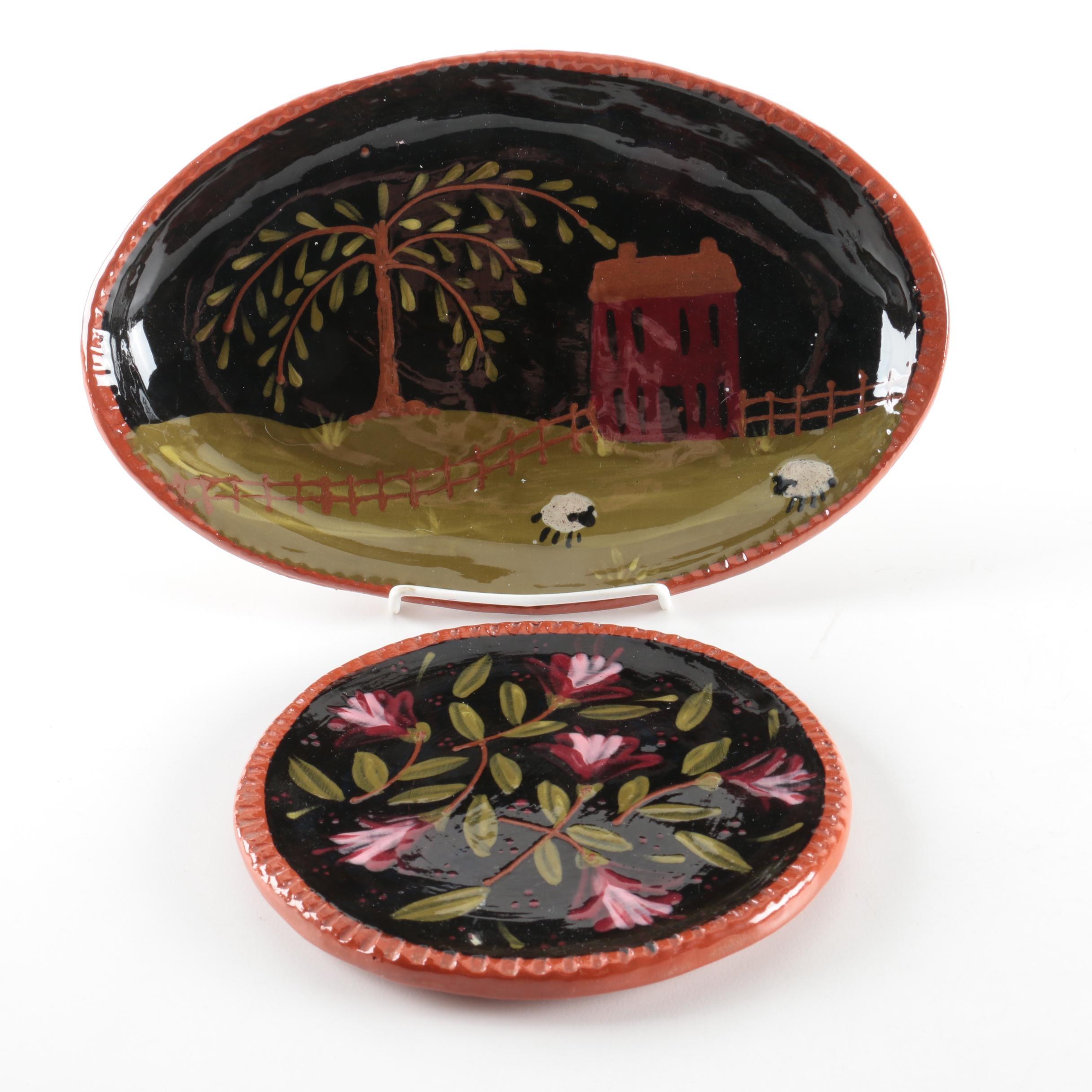 Penn Woods Pottery Redware Serving Platters