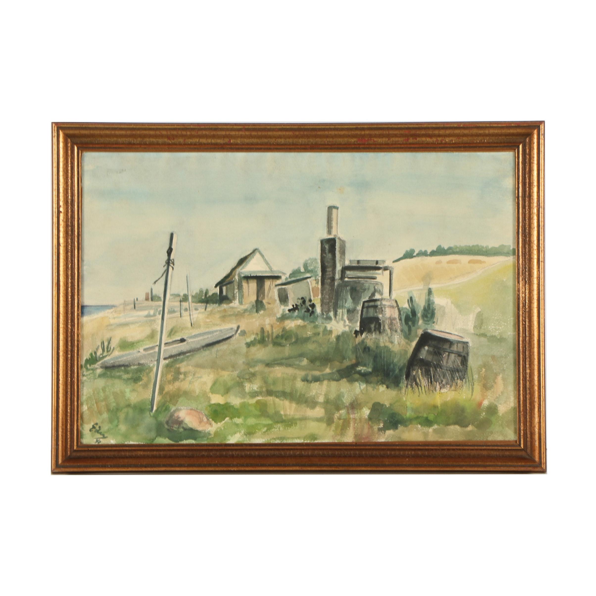 1941 Watercolor Painting of Scandinavian Waterfront Landscape