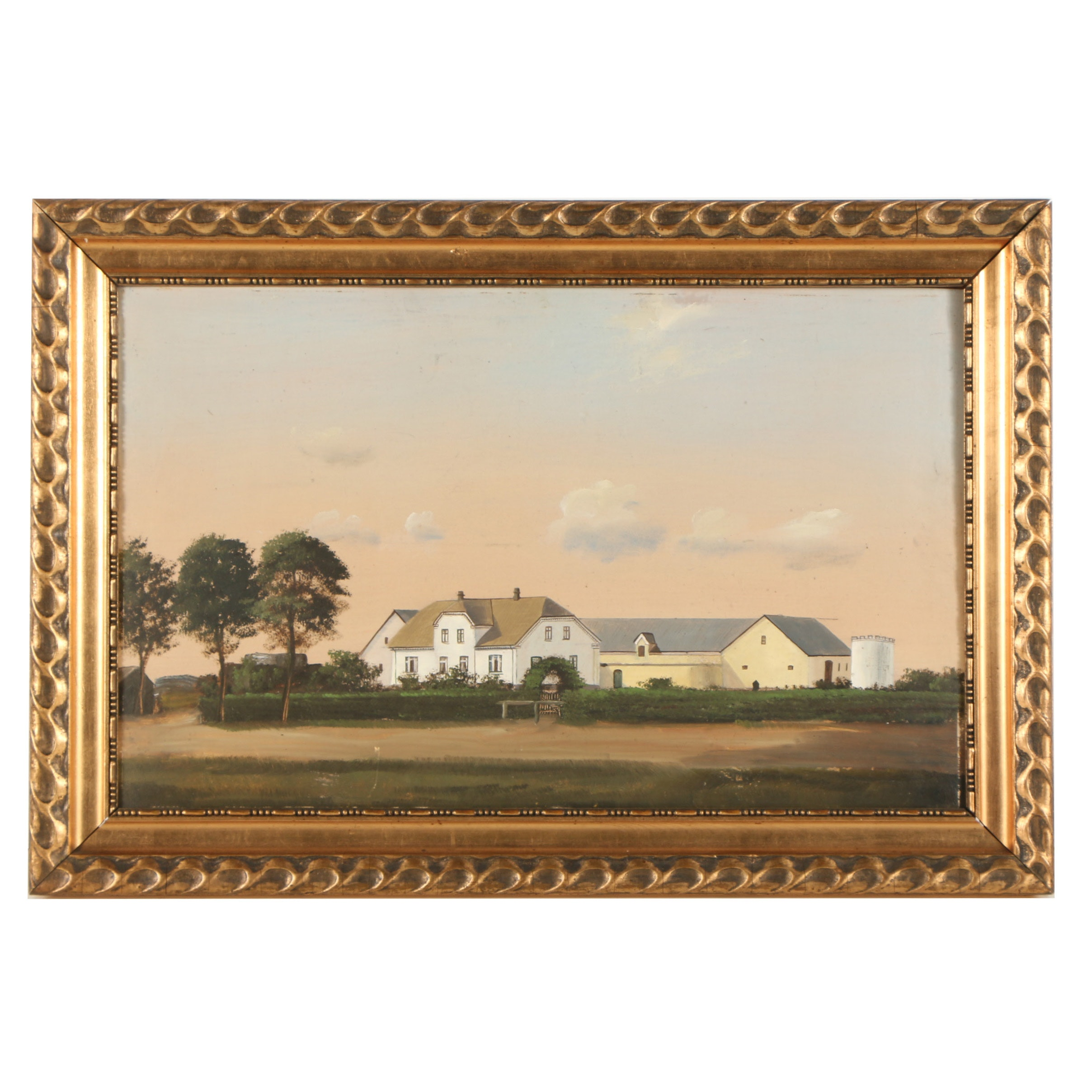 20th-Century Gouache on Paperboard Painting of a Farmstead