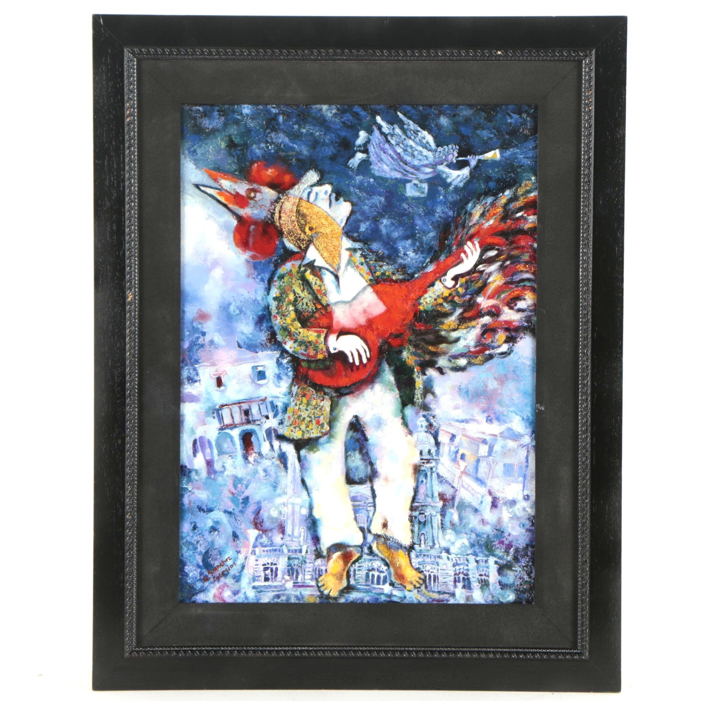"""Alfredo Elias Sanchez Iglesias Oil Painting """"Trovador y Gallo"""""""