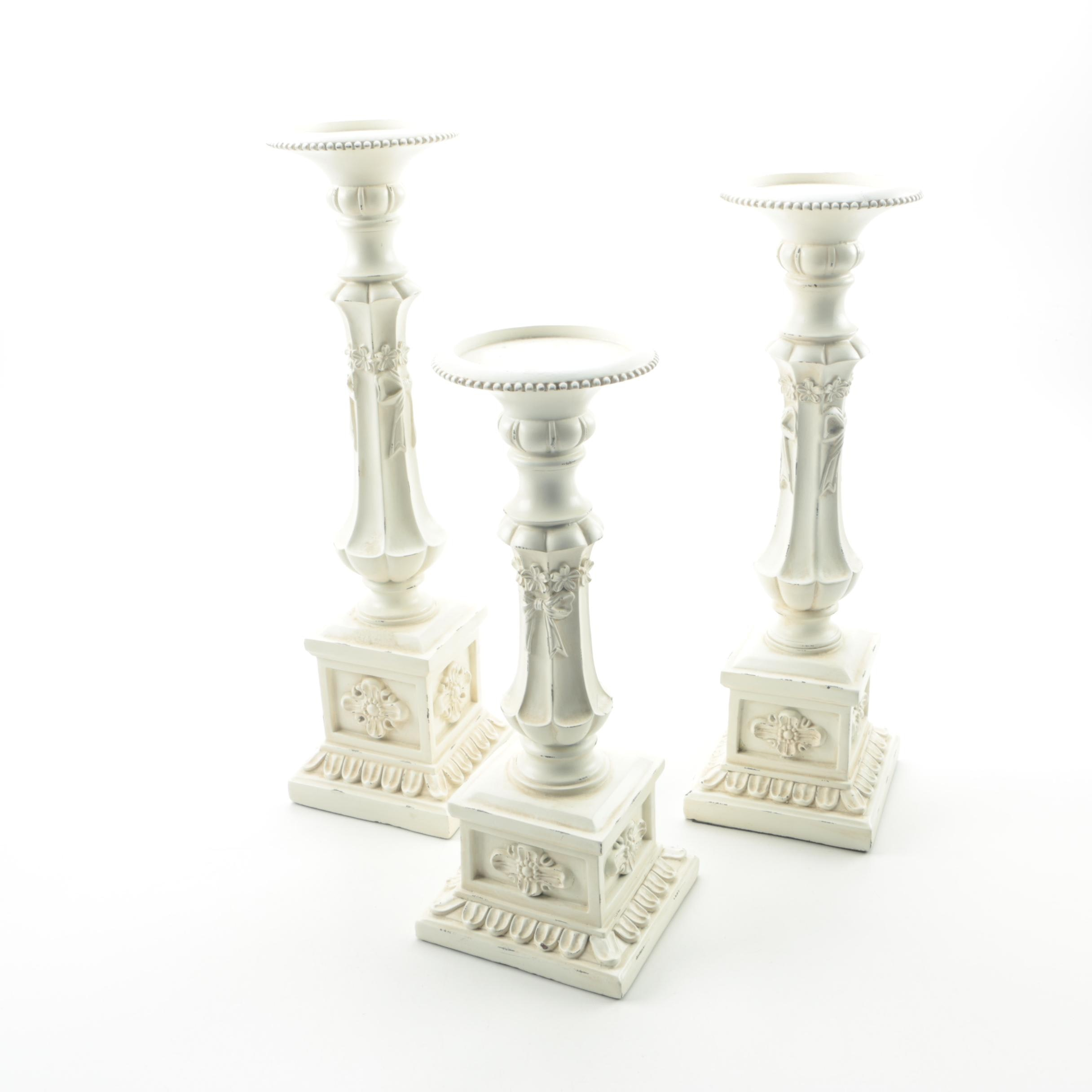 White Distressed Columnar Candle Holders