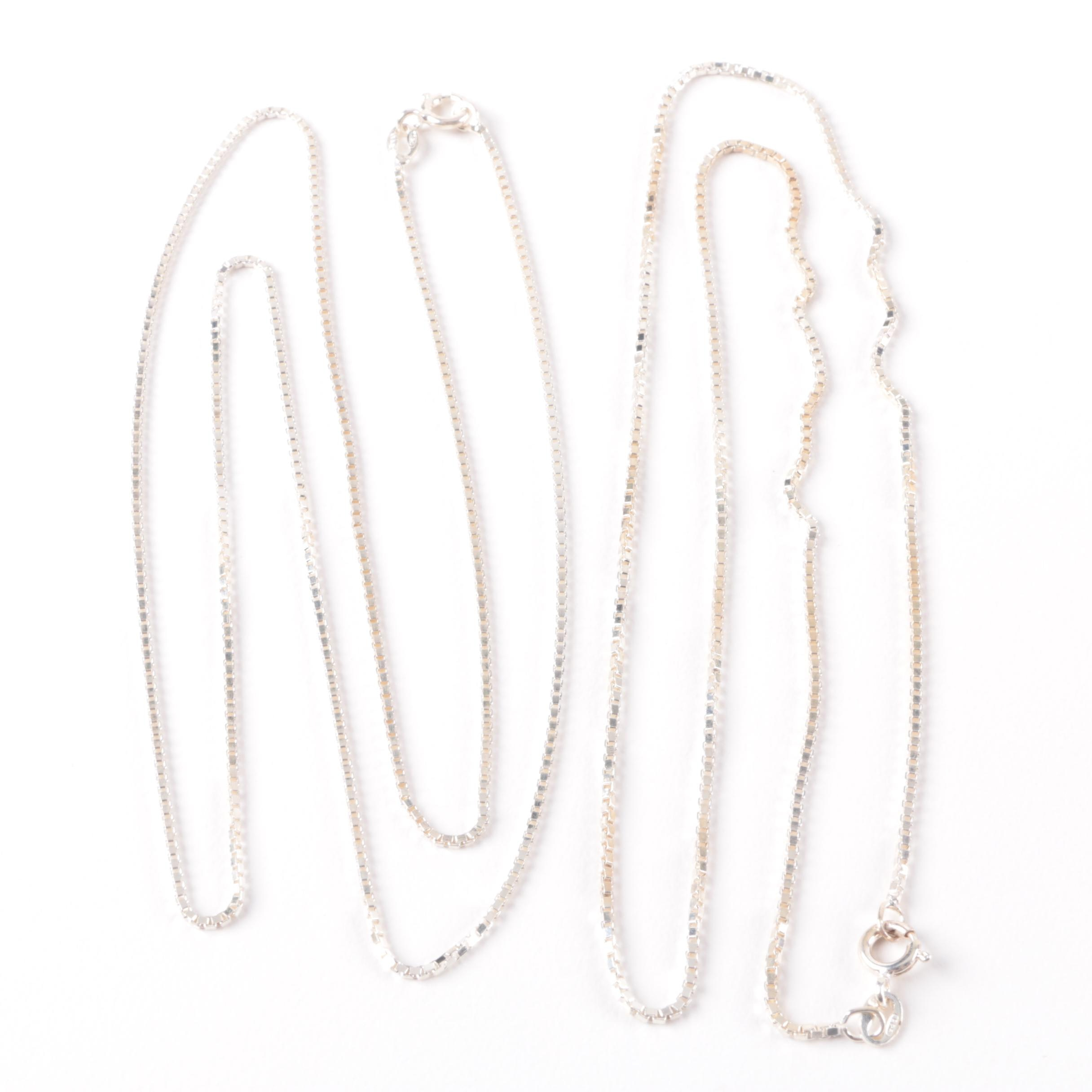 Selection of Sterling Silver Box Link Chain Necklaces