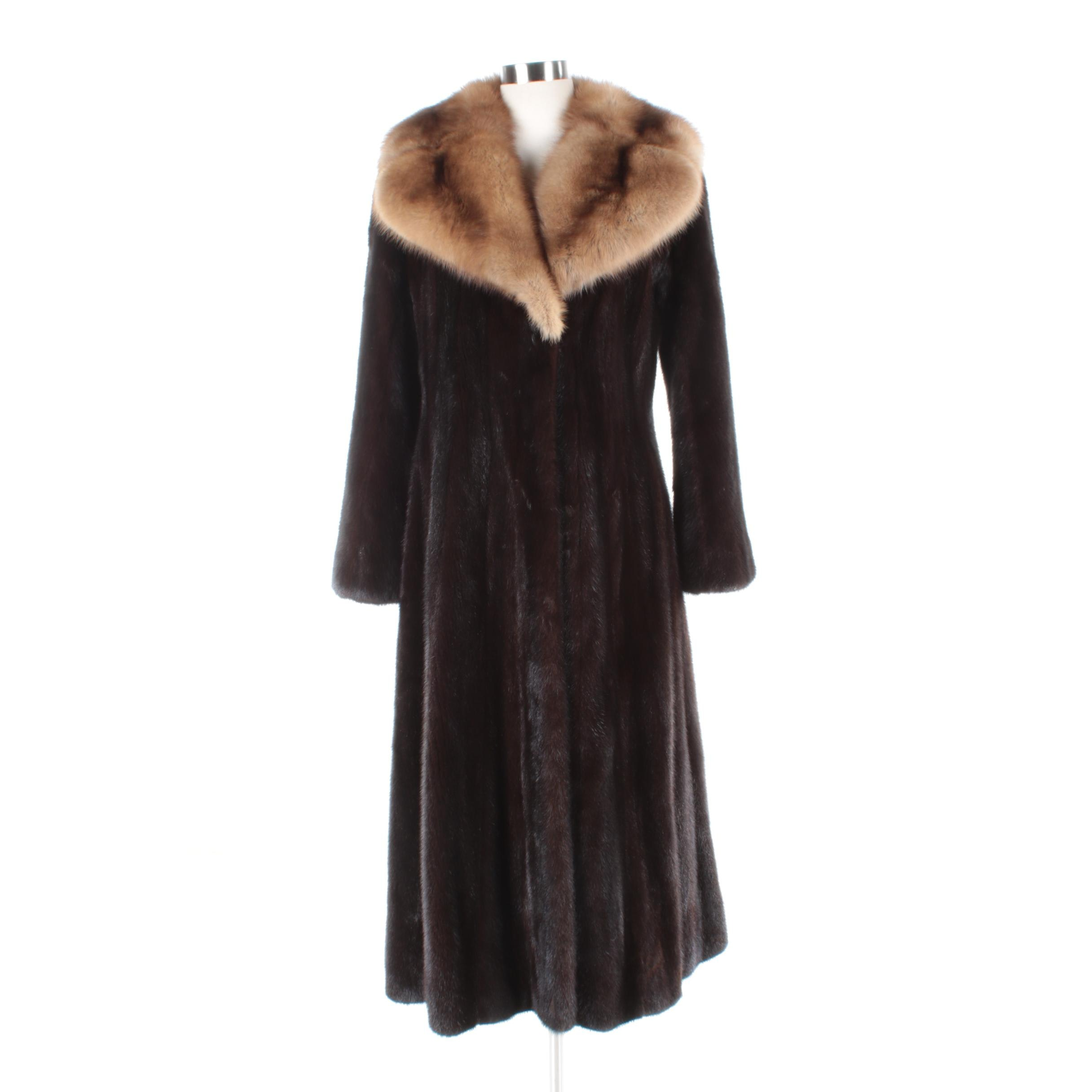 Women's Mink Fur Coat With Marten Fur Collar