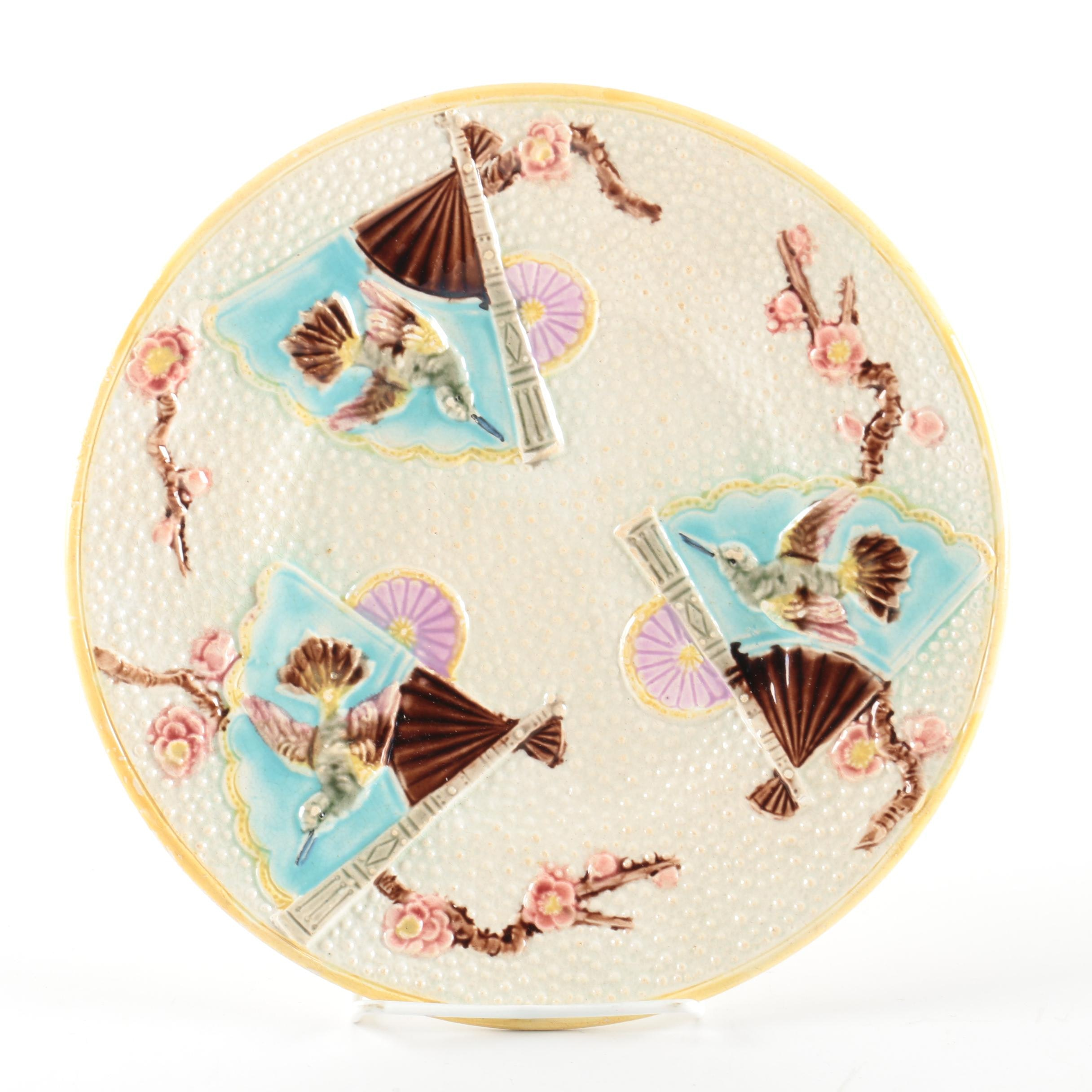 Antique English Japonesque Majolica Plate